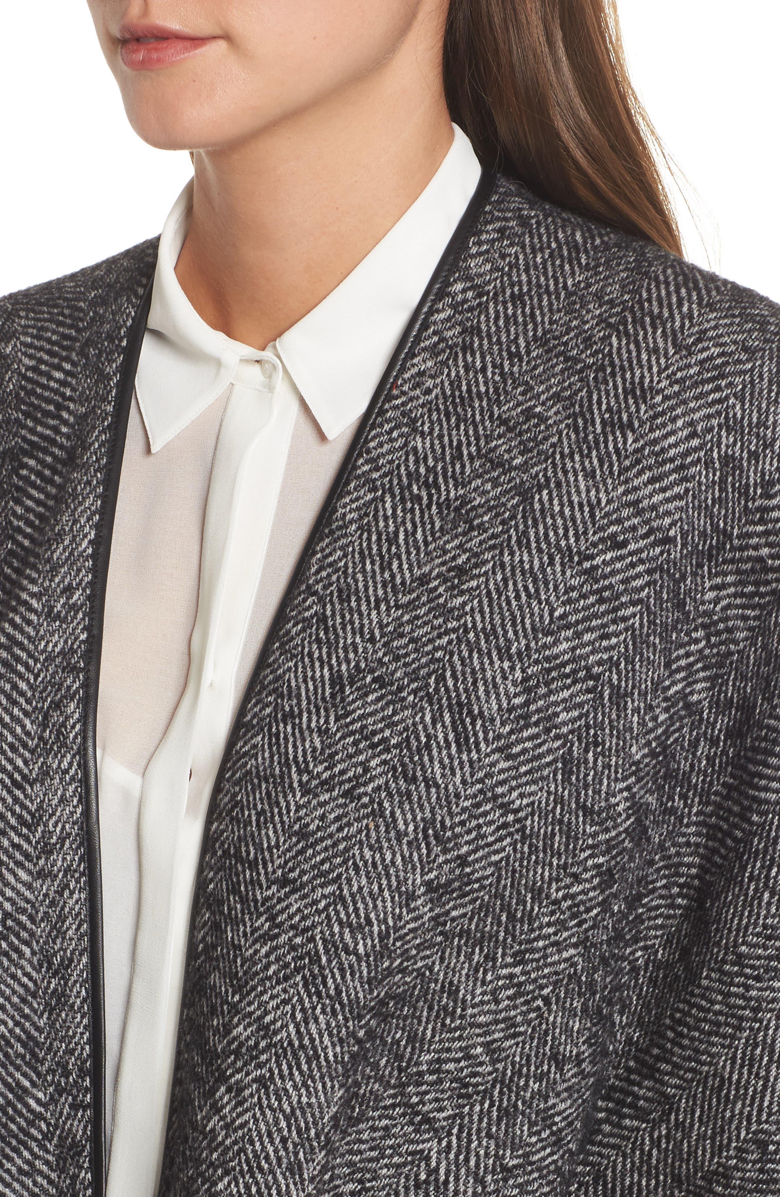 Herringbone Cashmere & Wool Cape,                             Alternate thumbnail 4, color,                             020