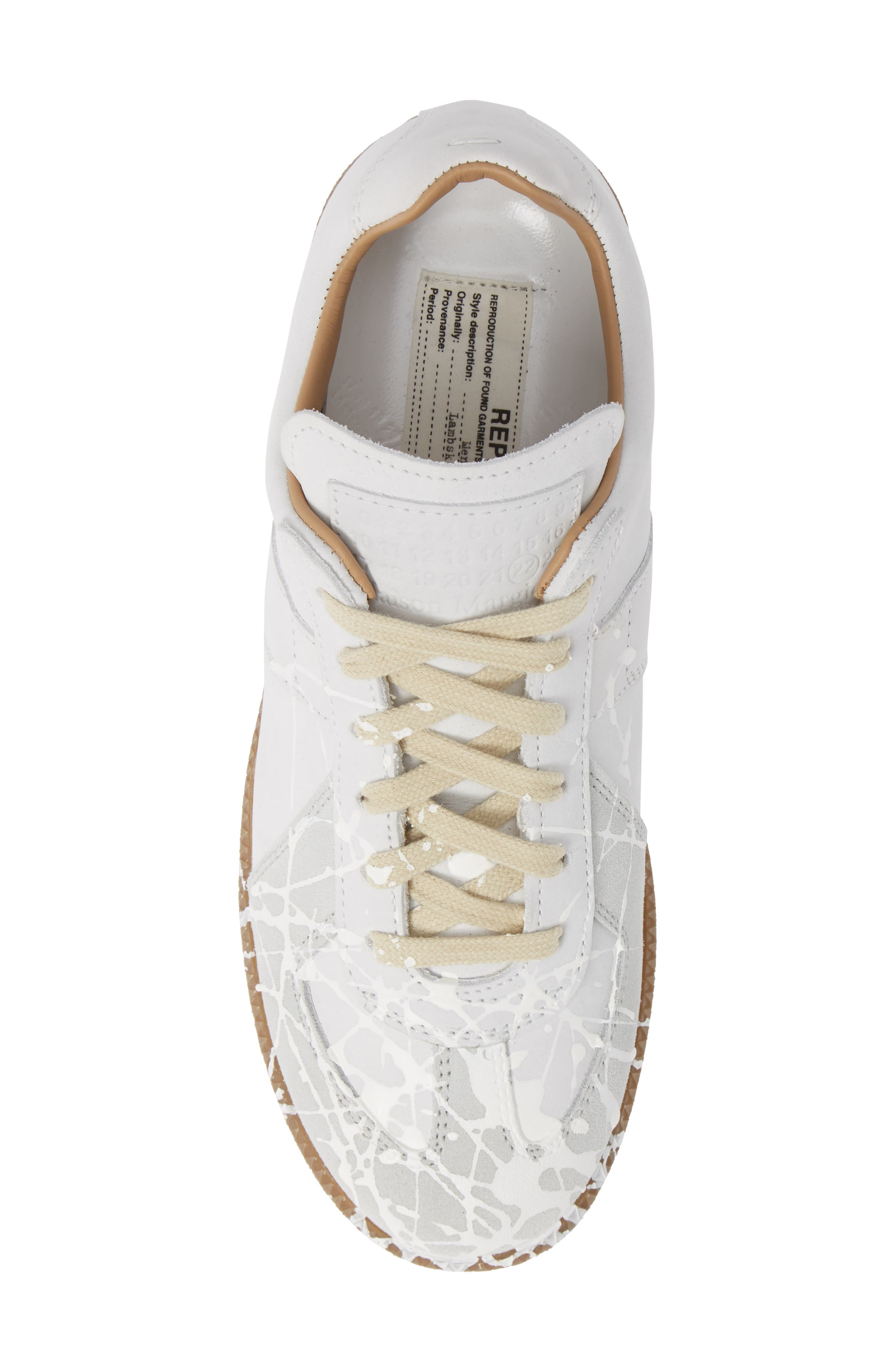 Replica Paint Splatter Sneaker,                             Alternate thumbnail 5, color,                             WHITE