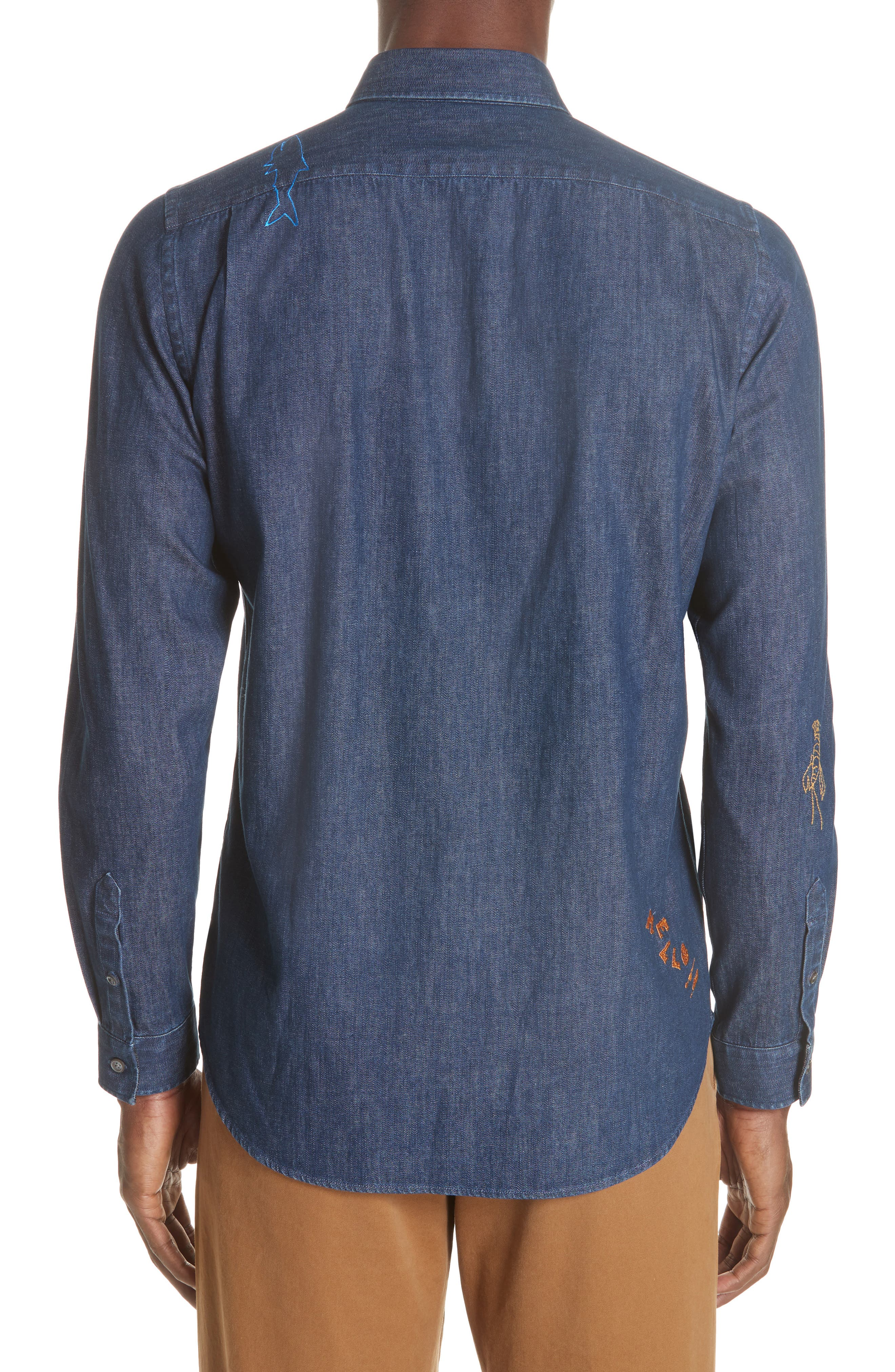 PS PAUL SMITH,                             Denim Shirt with Embroidery,                             Alternate thumbnail 3, color,                             427