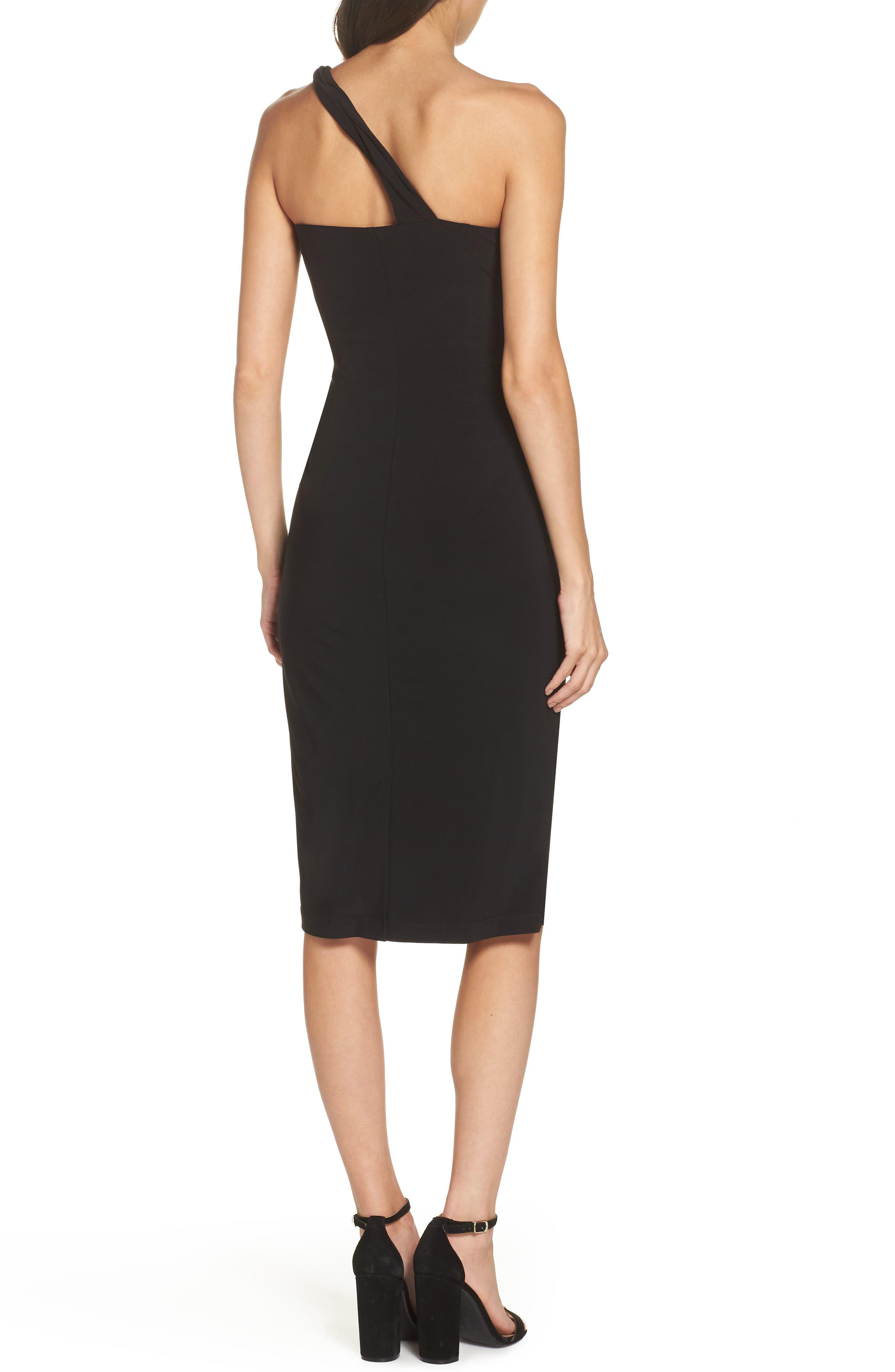 One-Shoulder Dress,                             Alternate thumbnail 2, color,                             BLACK
