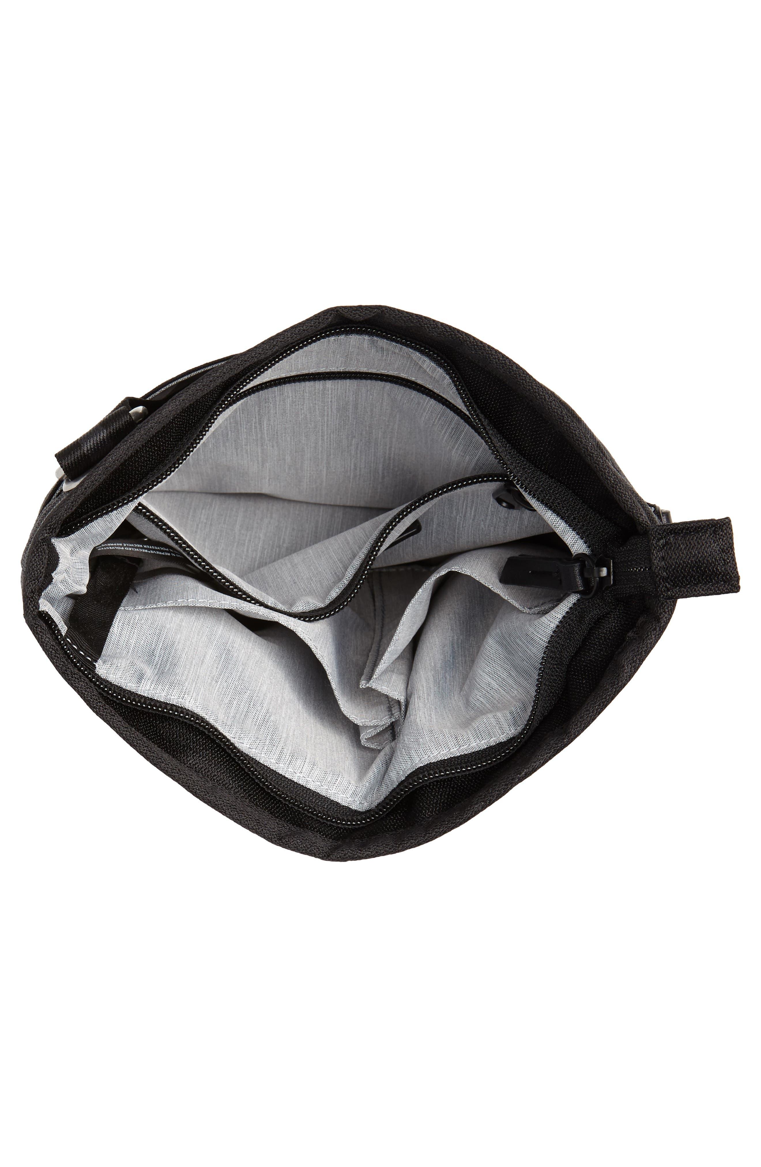 Sadie Medium RFID Crossbody Bag,                             Alternate thumbnail 4, color,                             BLACK/ BLACK