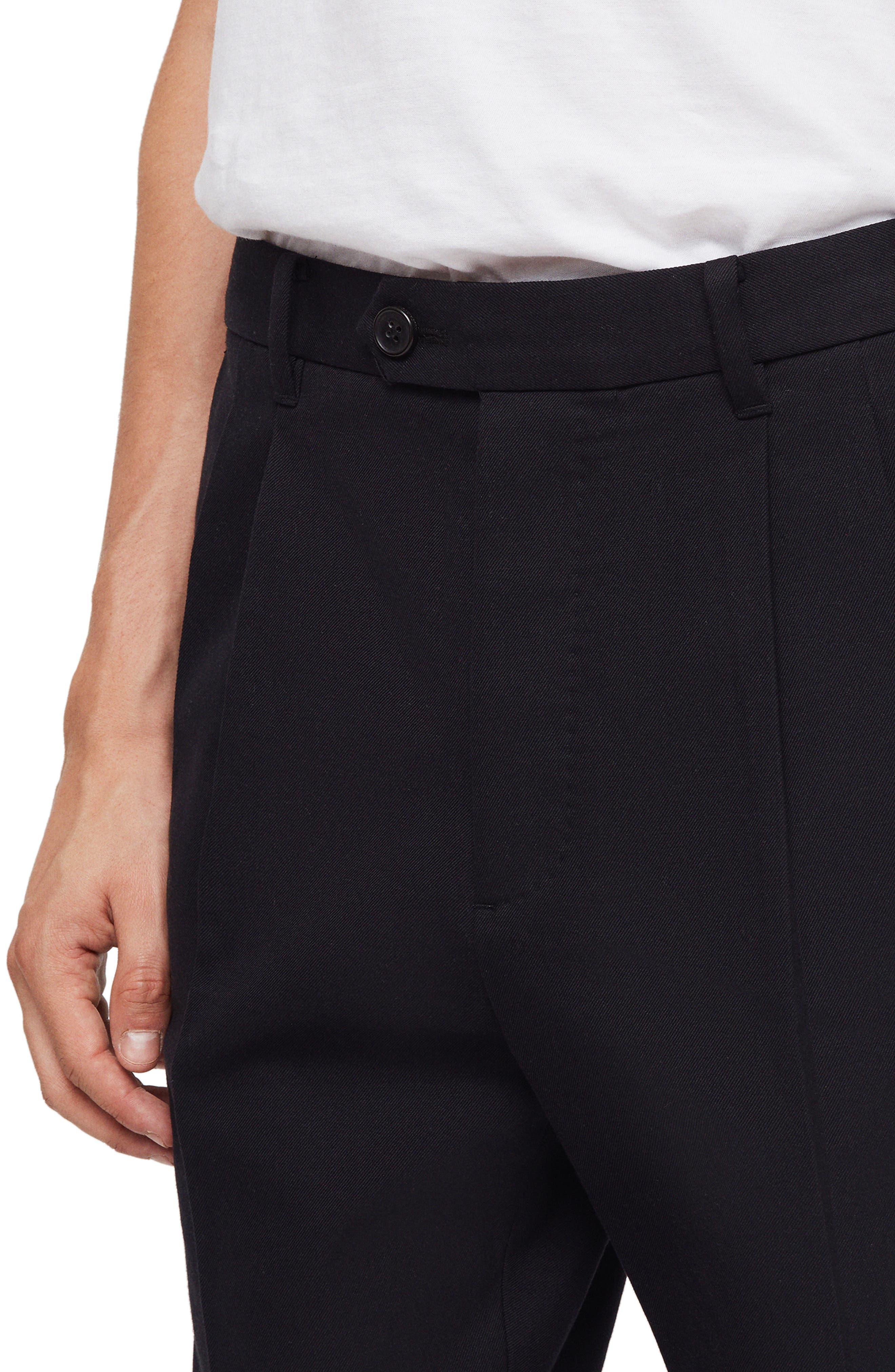 ALLSAINTS,                             Tallis Pleated Cotton & Wool Trousers,                             Alternate thumbnail 3, color,                             BLACK