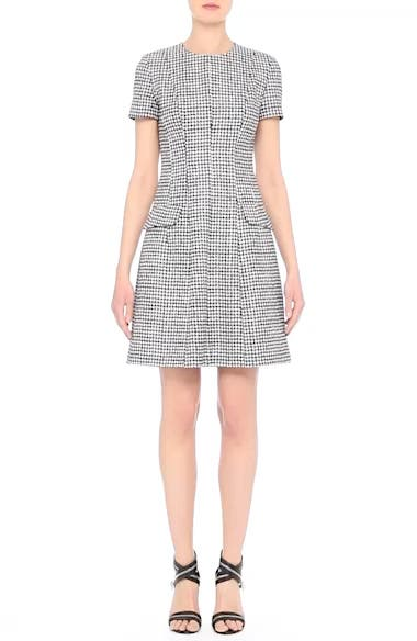 Houndstooth Wool Jacquard A-Line Dress, video thumbnail