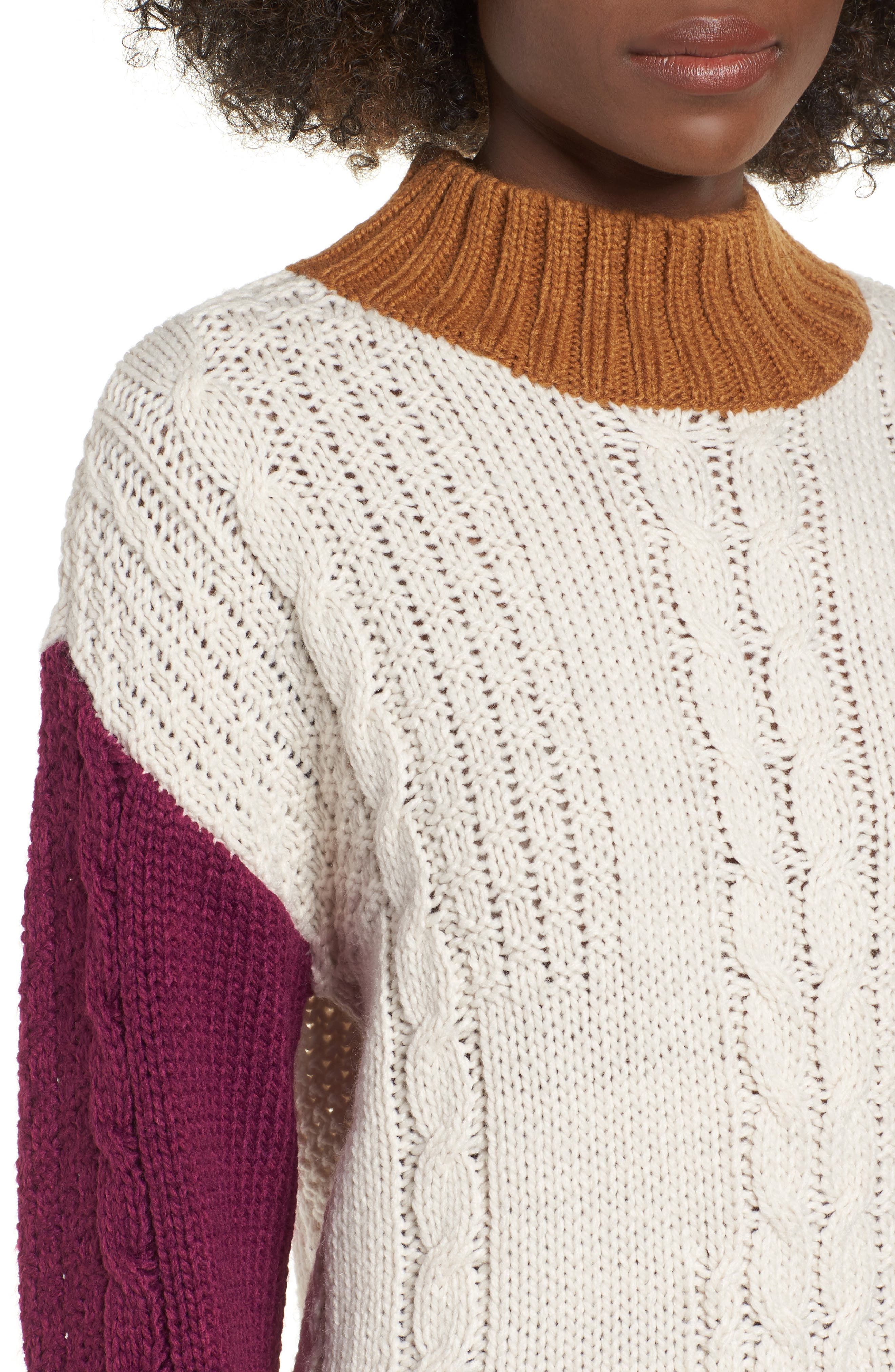 Colorblock Cable Knit Pullover,                             Alternate thumbnail 5, color,                             270
