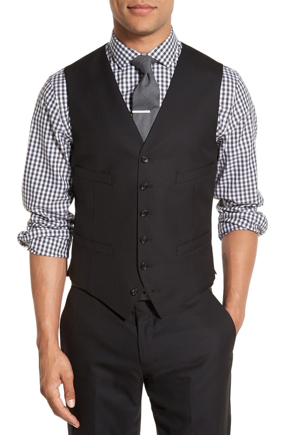 Ludlow Trim Fit Solid Wool Vest,                             Main thumbnail 1, color,                             001