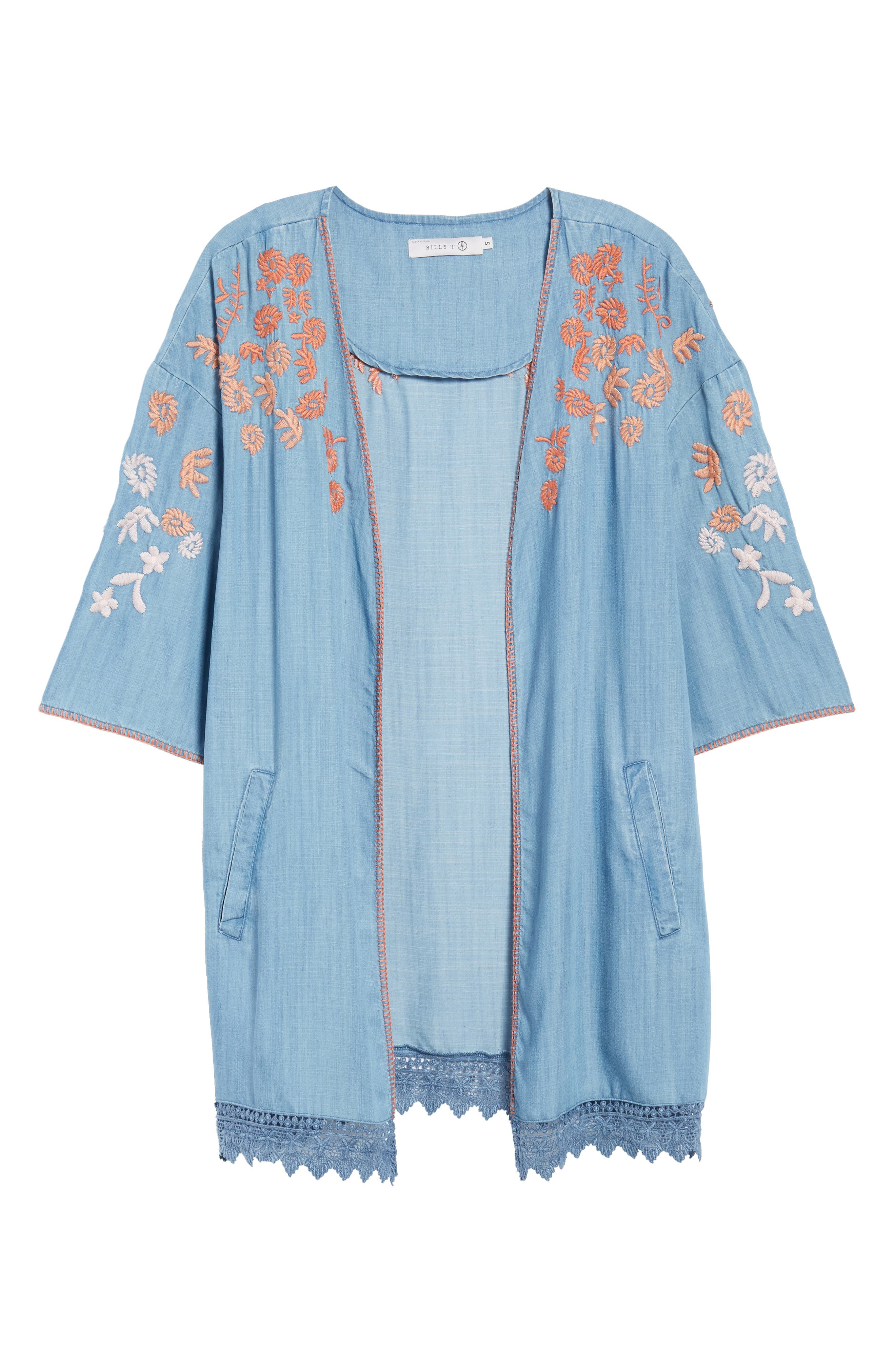 Embroidered Chambray Kimono,                             Alternate thumbnail 5, color,                             BLUE EMBROIDER