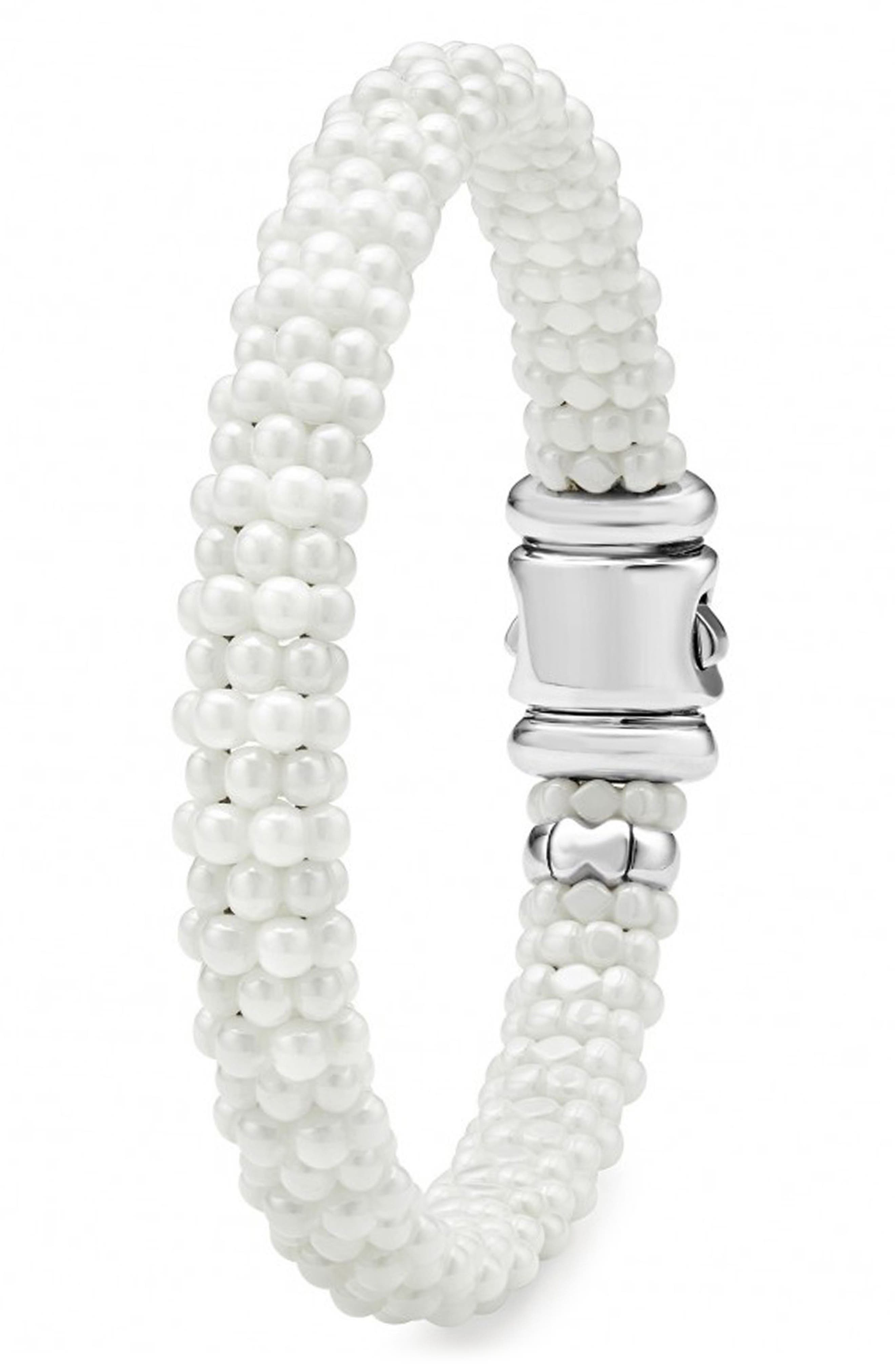 'White Caviar' Rope Bracelet,                             Alternate thumbnail 4, color,                             WHITE CAVIAR