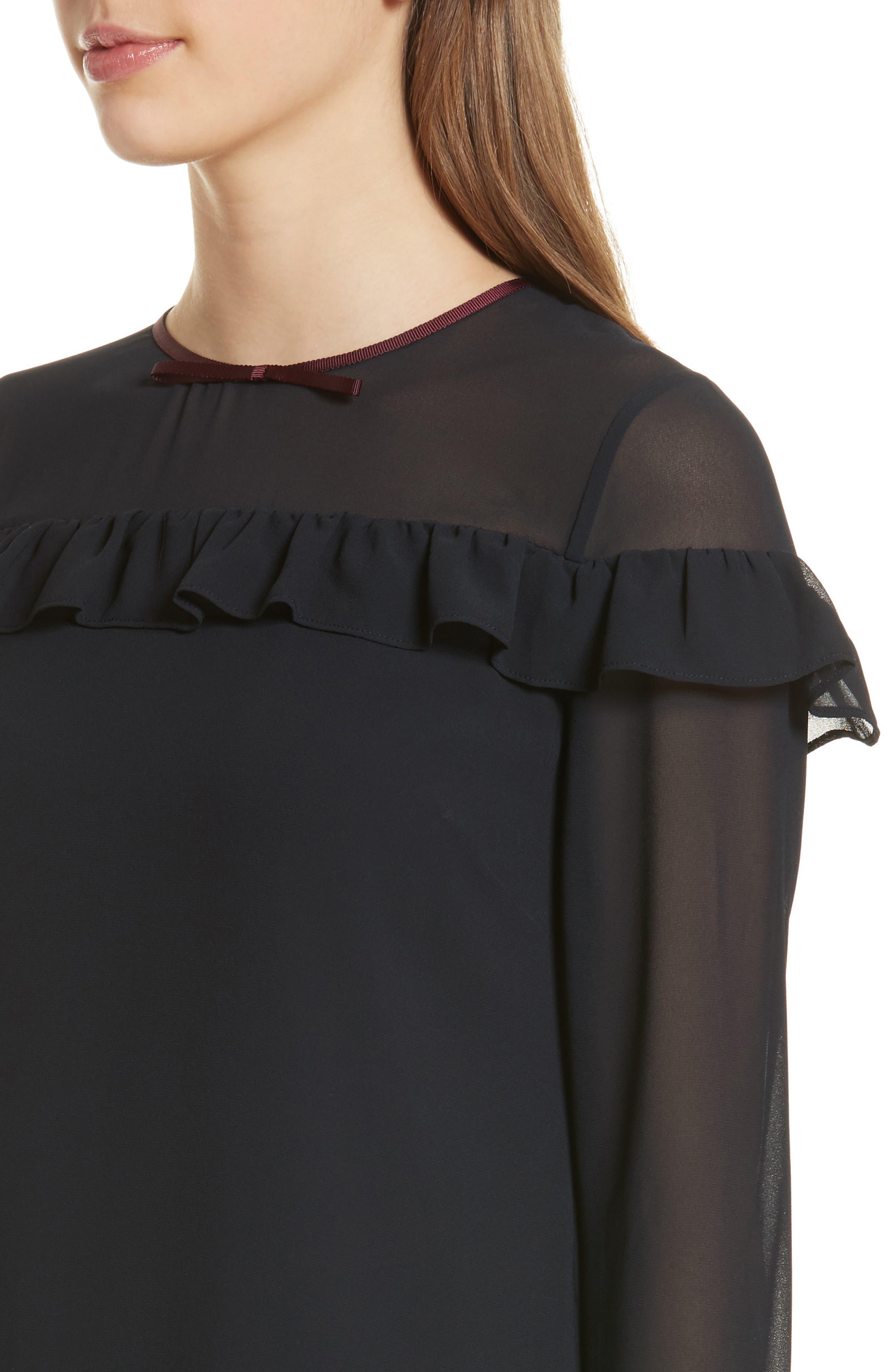 Ruffle Trim Shift Dress,                             Alternate thumbnail 4, color,                             402