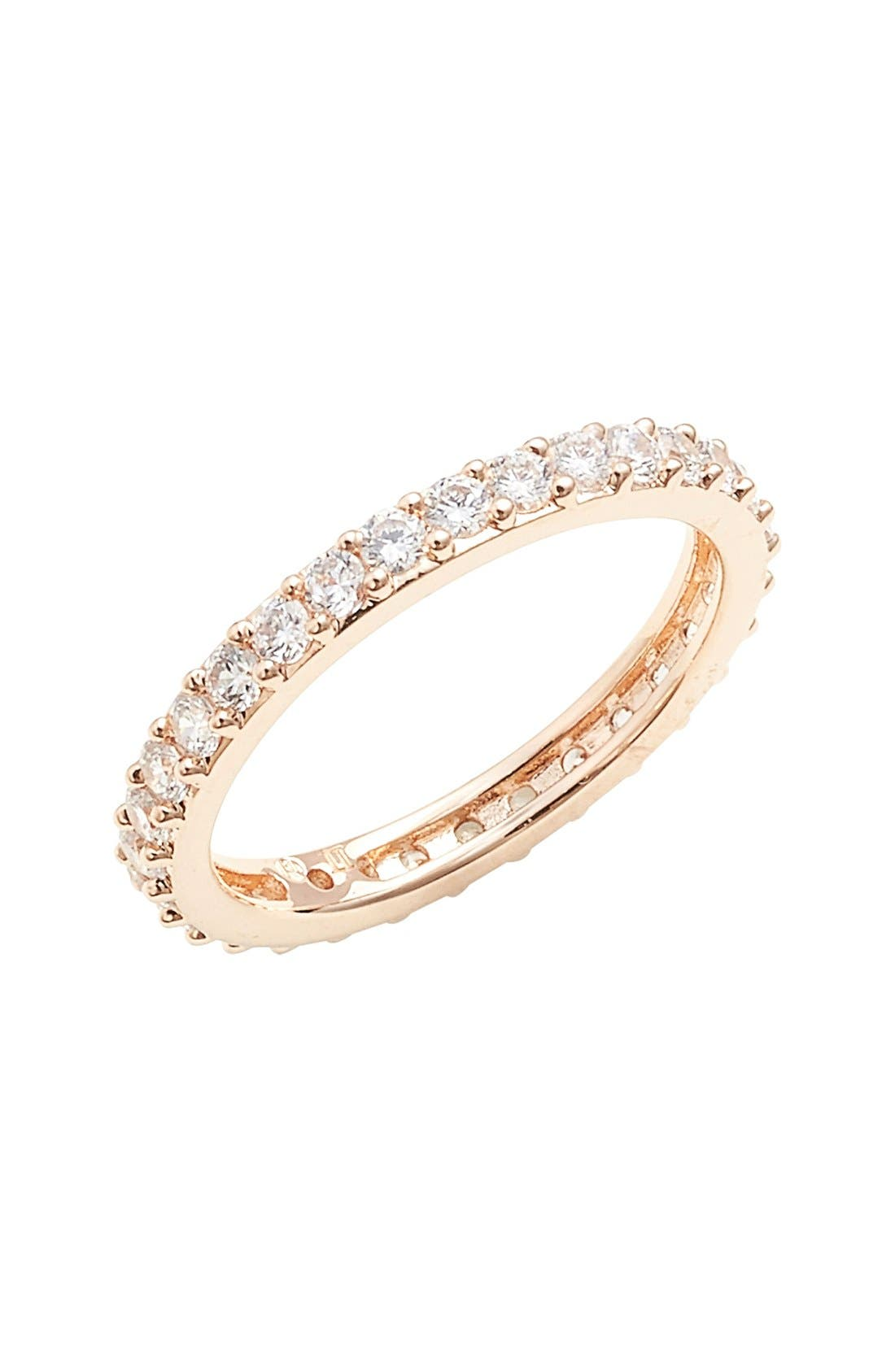 Cubic Zirconia Pavé Band Ring,                             Main thumbnail 1, color,                             ROSE GOLD