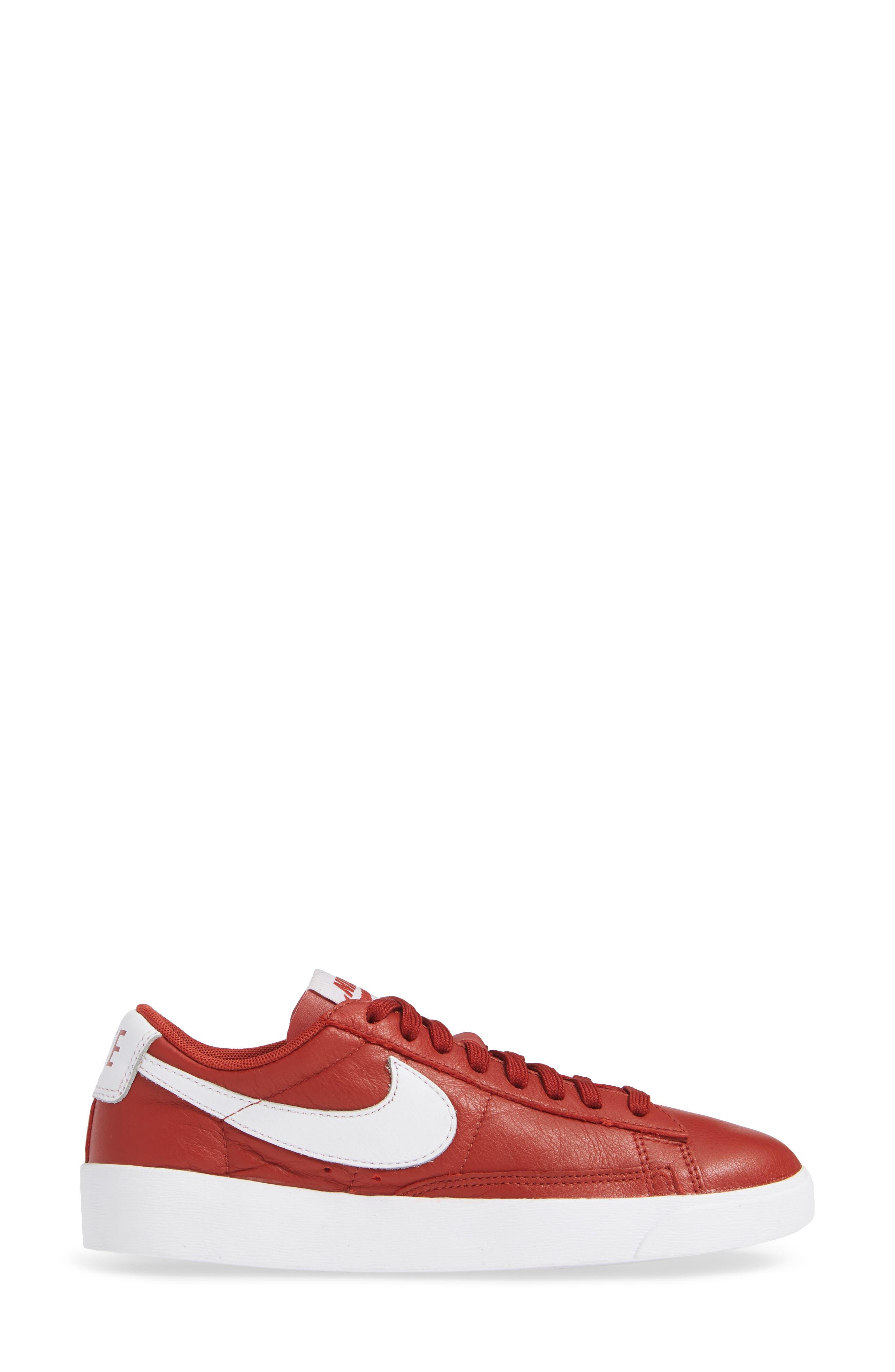 Blazer Low SE Sneaker,                             Alternate thumbnail 3, color,                             DUNE RED/ WHITE-DUNE RED
