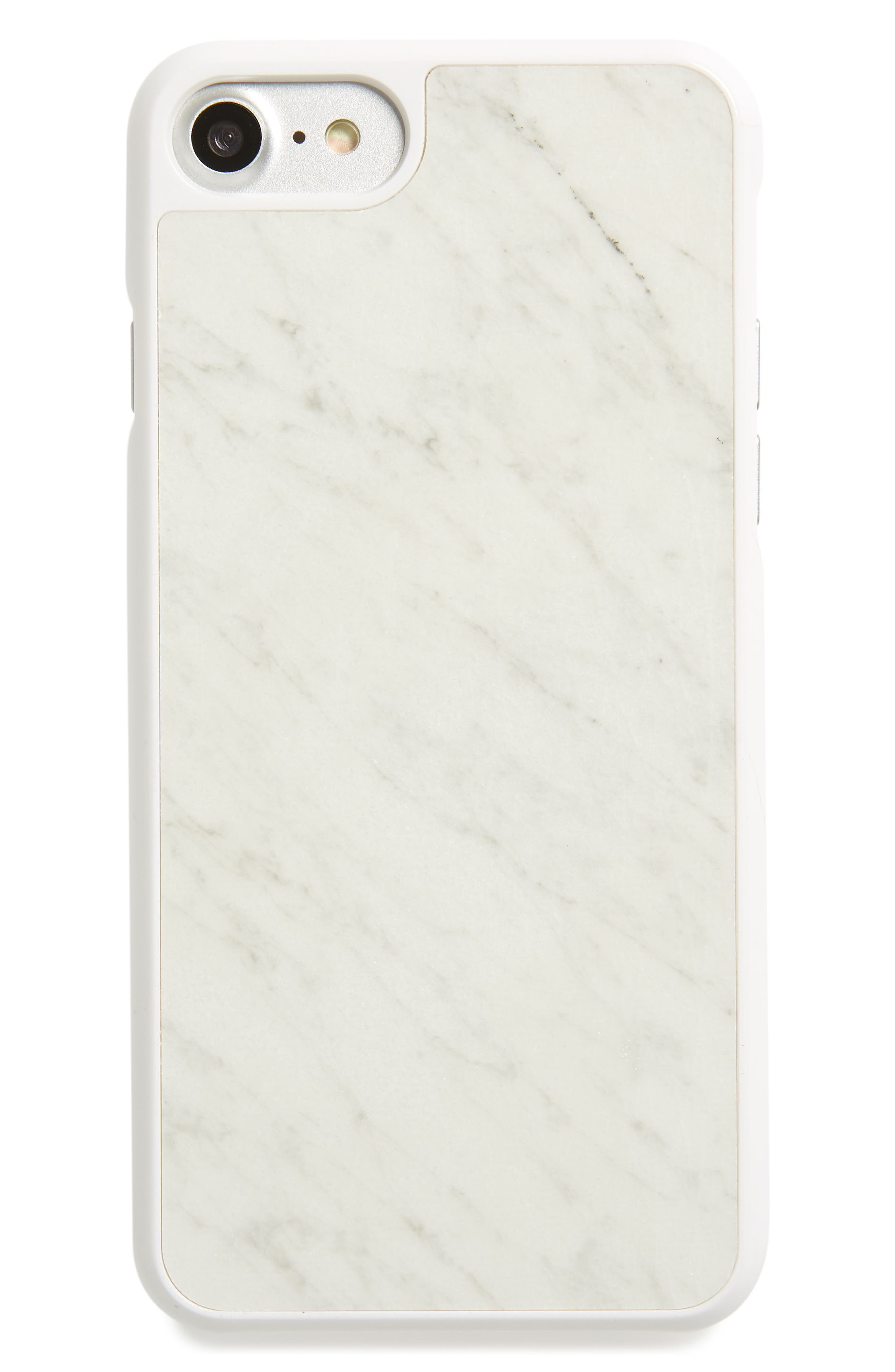Genuine White Marble iPhone 6/6s/7/8 & 6/6s/7/8 Plus Case,                             Main thumbnail 1, color,                             WHITE