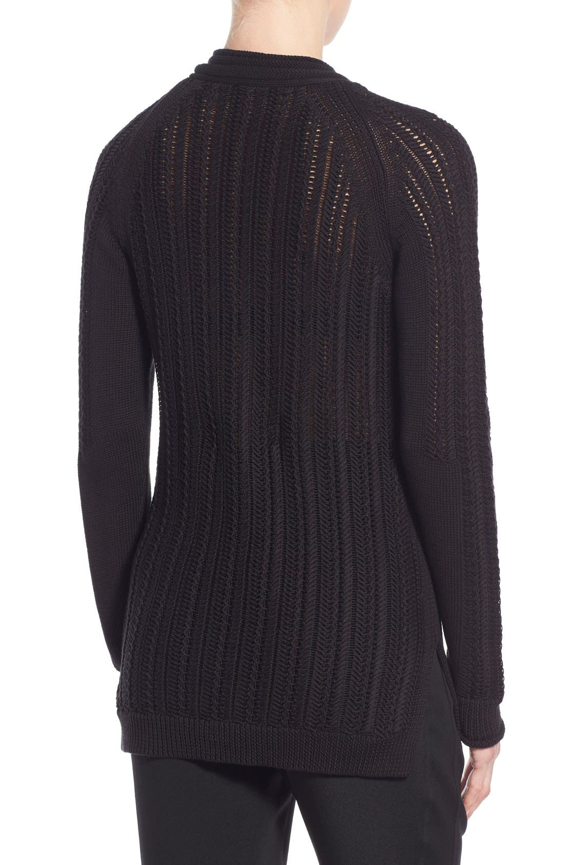 'Daria' Lace Up Textured V-Neck Sweater,                             Alternate thumbnail 5, color,                             001