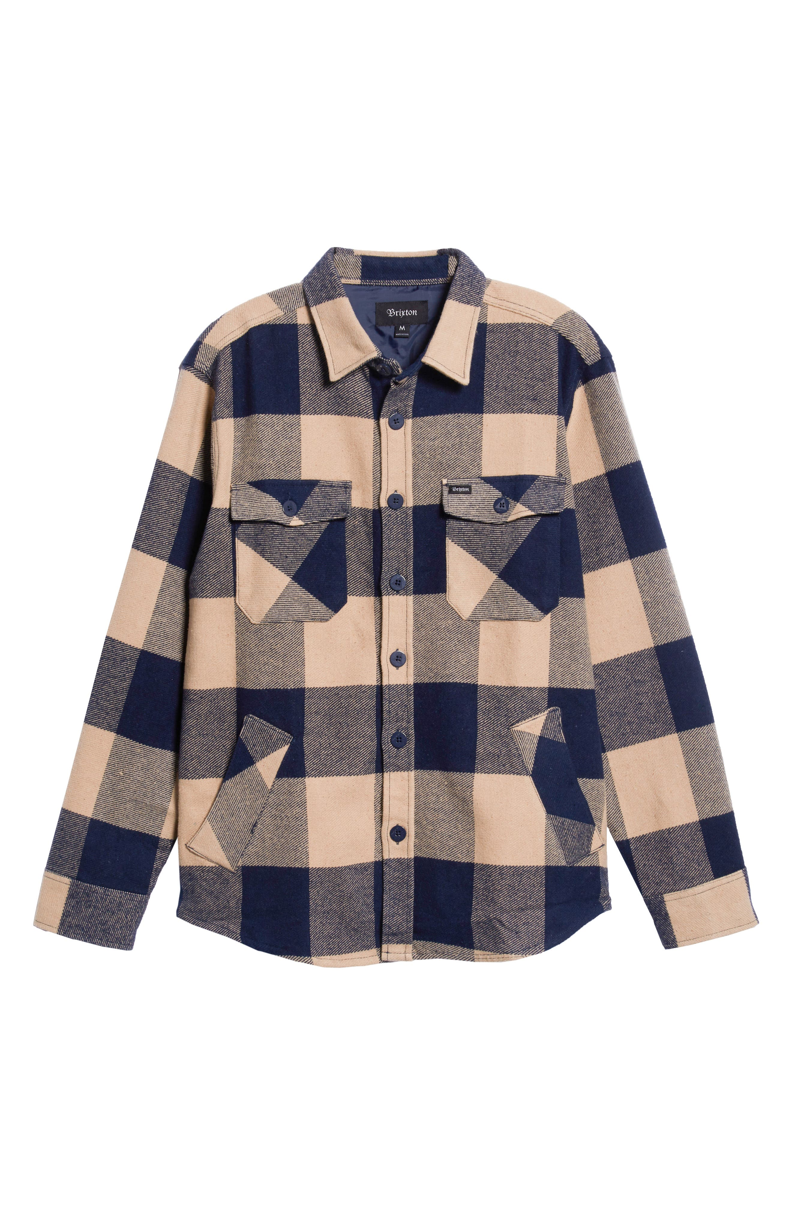 Durham Flannel Shirt,                             Alternate thumbnail 5, color,                             NAVY/ CREAM