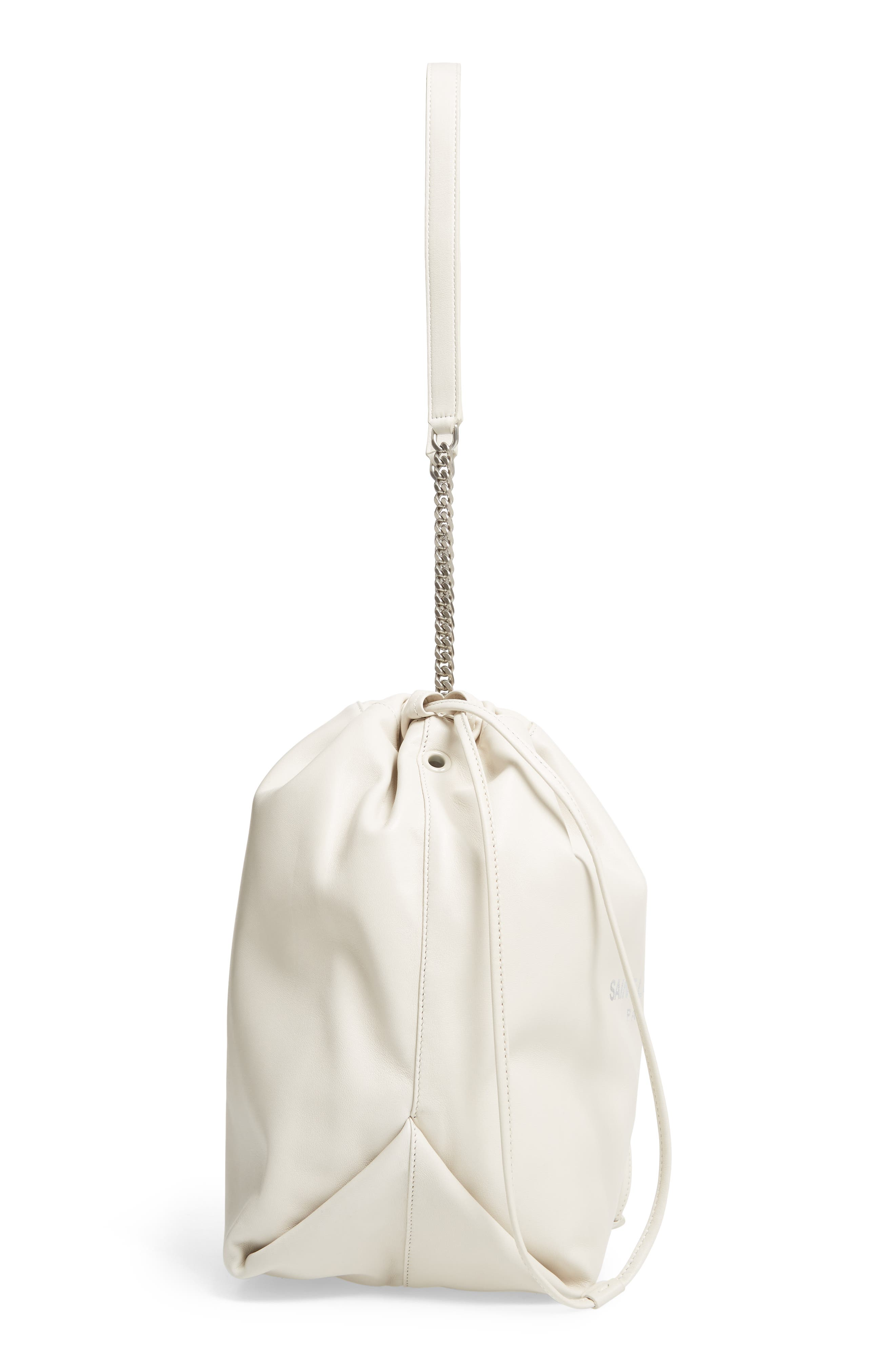 SAINT LAURENT,                             Teddy Leather Bucket Bag,                             Alternate thumbnail 5, color,                             CREMASOFT