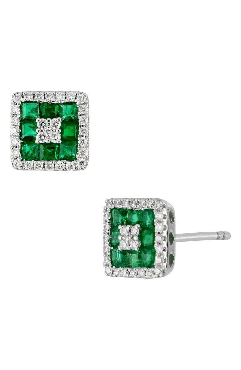 Diamond Emerald Stud Earrings