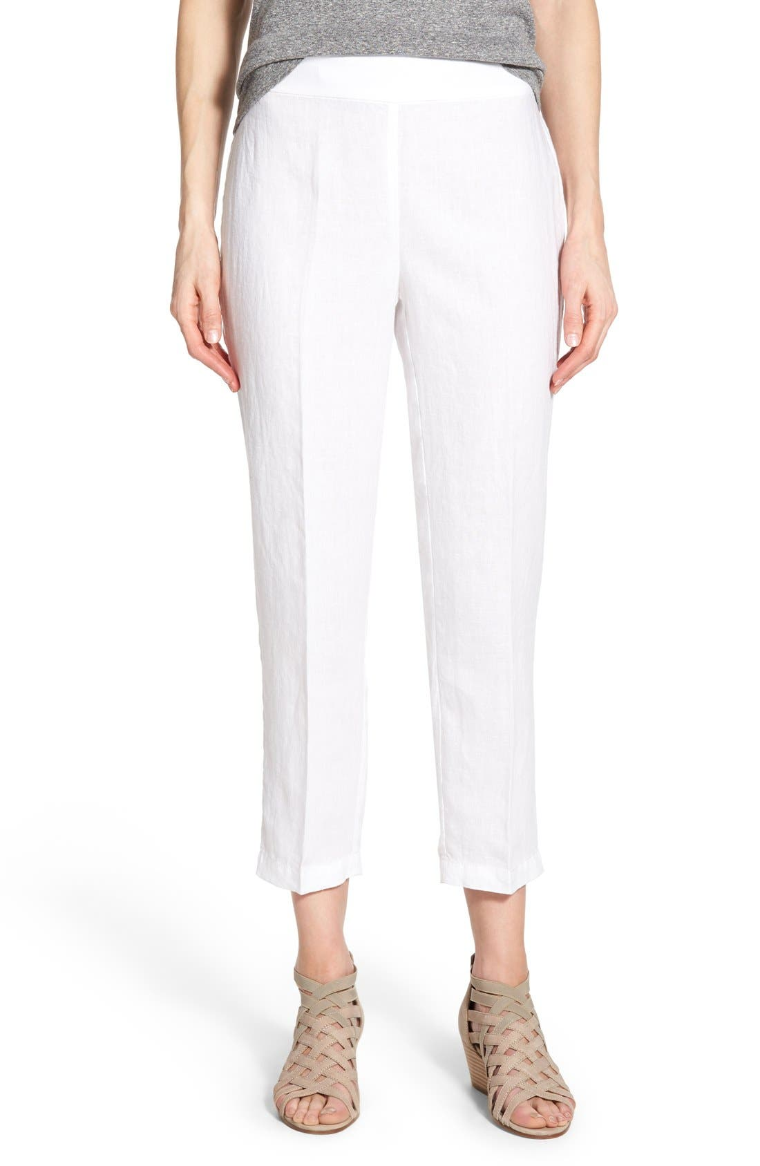 Organic Linen Crop Pants,                             Main thumbnail 1, color,                             100