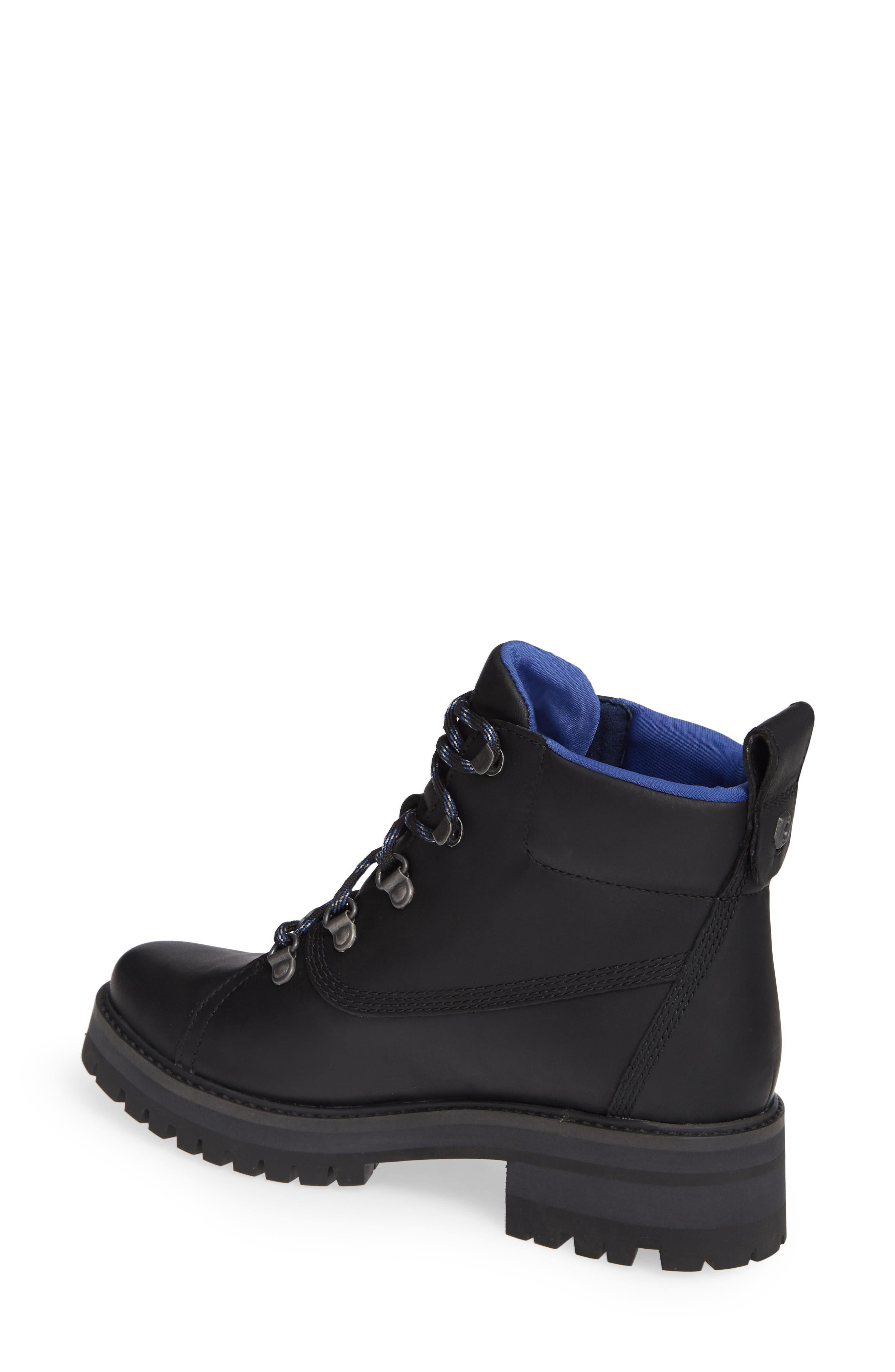 TIMBERLAND,                             Courmayeur Valley Waterproof Hiking Boot,                             Alternate thumbnail 2, color,                             BLACK NUBUCK BLACK OUT LEATHER