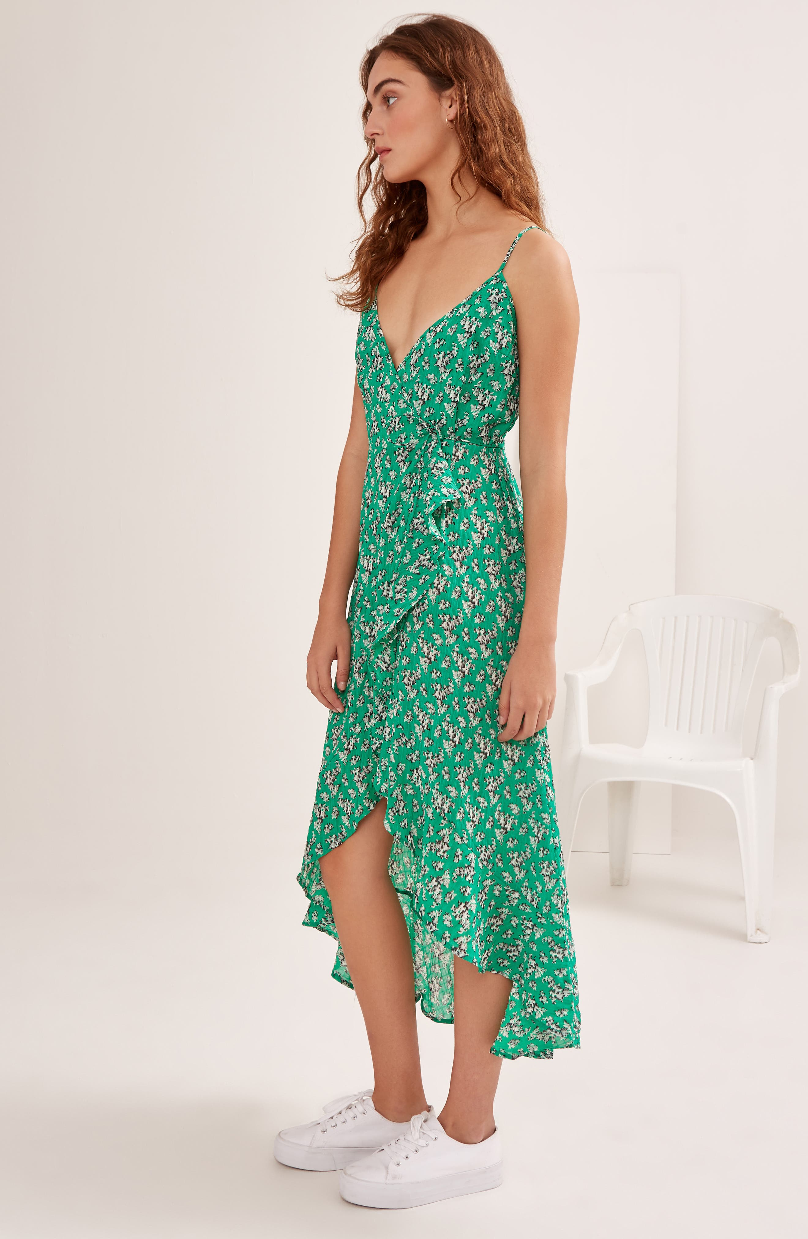 Adventurer Floral Print High/Low Dress,                             Alternate thumbnail 8, color,                             GREEN FLORAL
