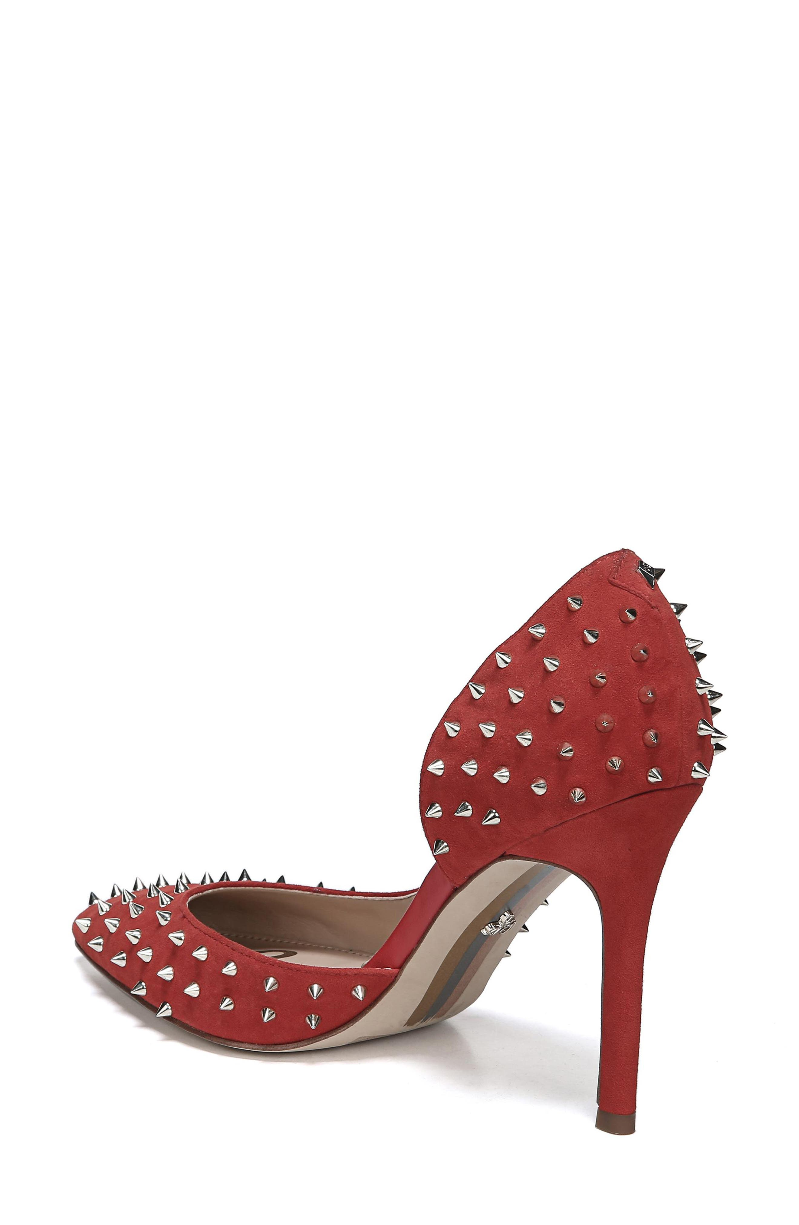 Hadlee d'Orsay Pump,                             Alternate thumbnail 2, color,                             RED SUEDE