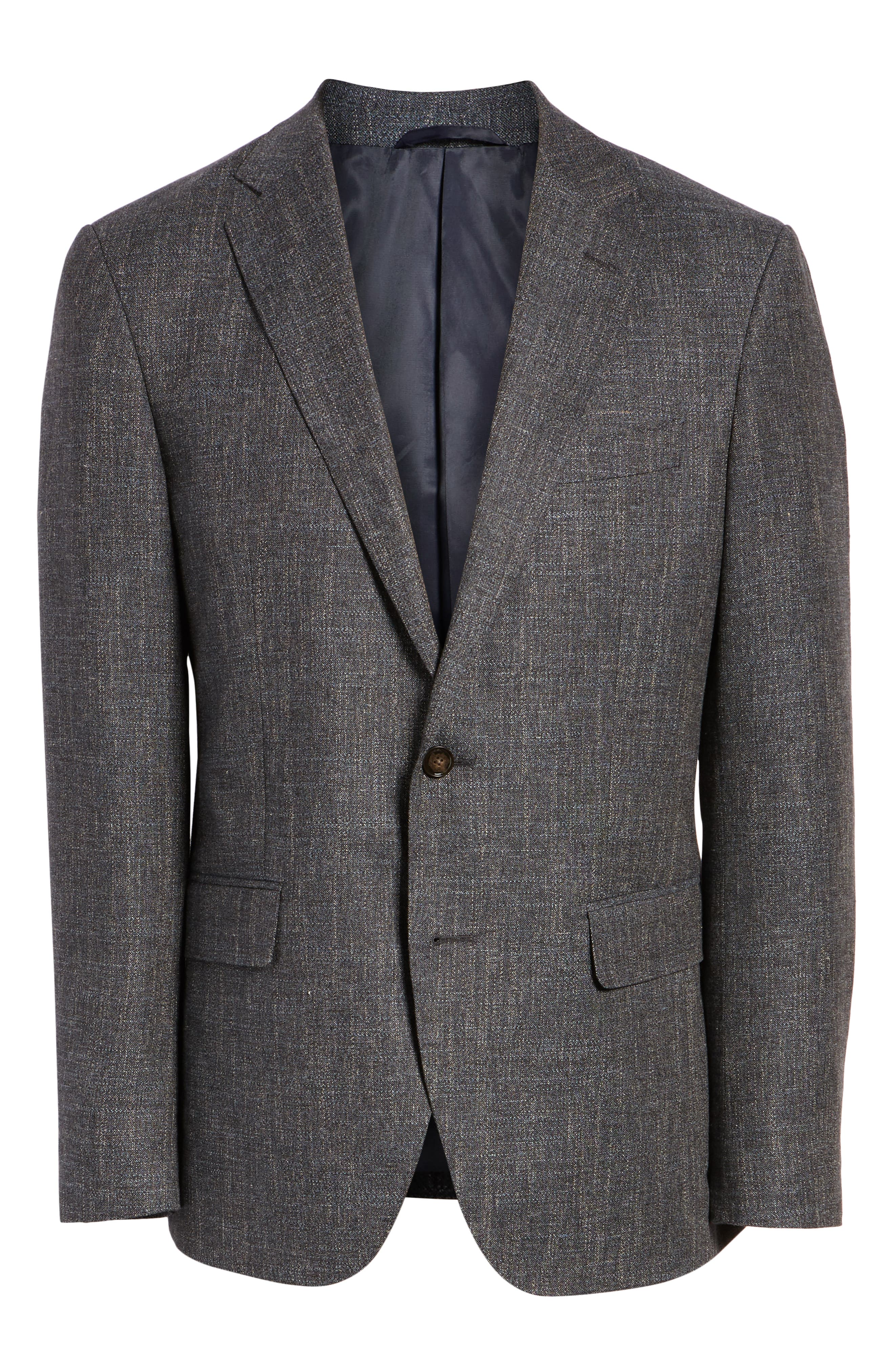 Renton Road Wool & Linen Sport Coat,                             Alternate thumbnail 5, color,                             GRAPHITE