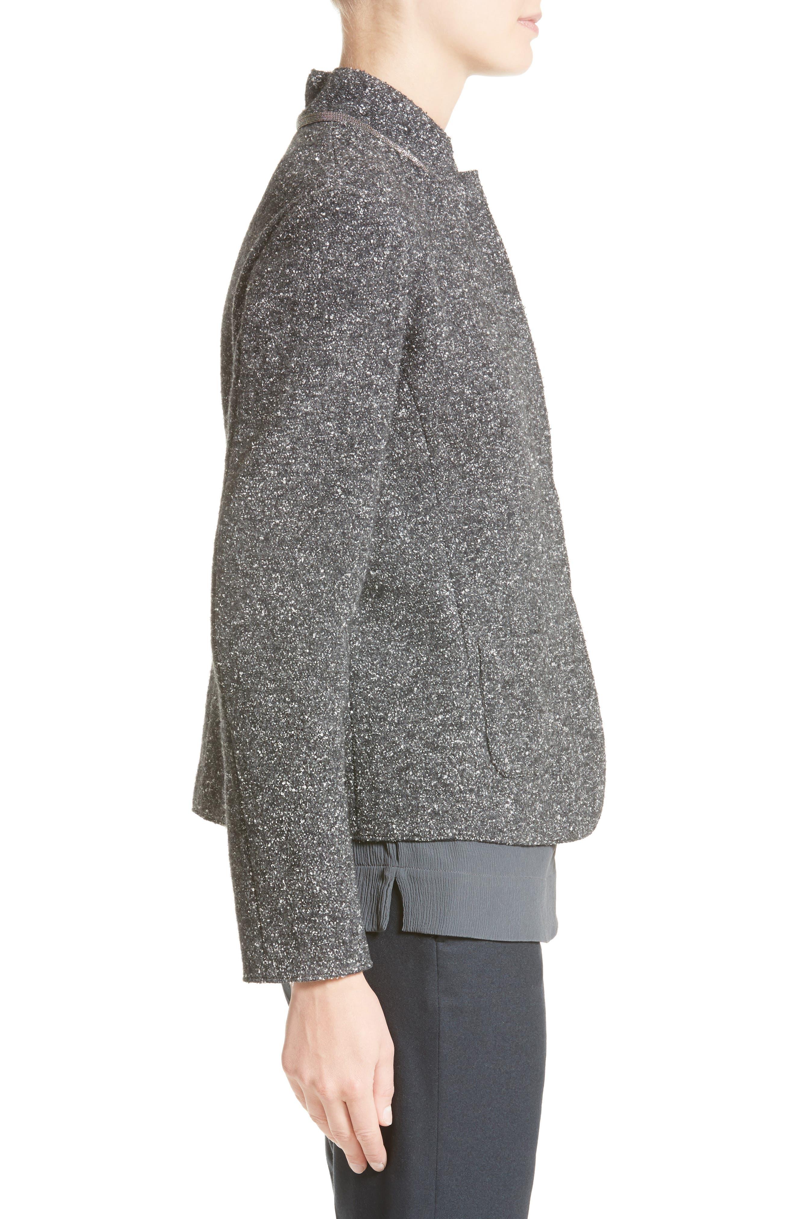 Pebble Tweed Knit Jacket,                             Alternate thumbnail 4, color,