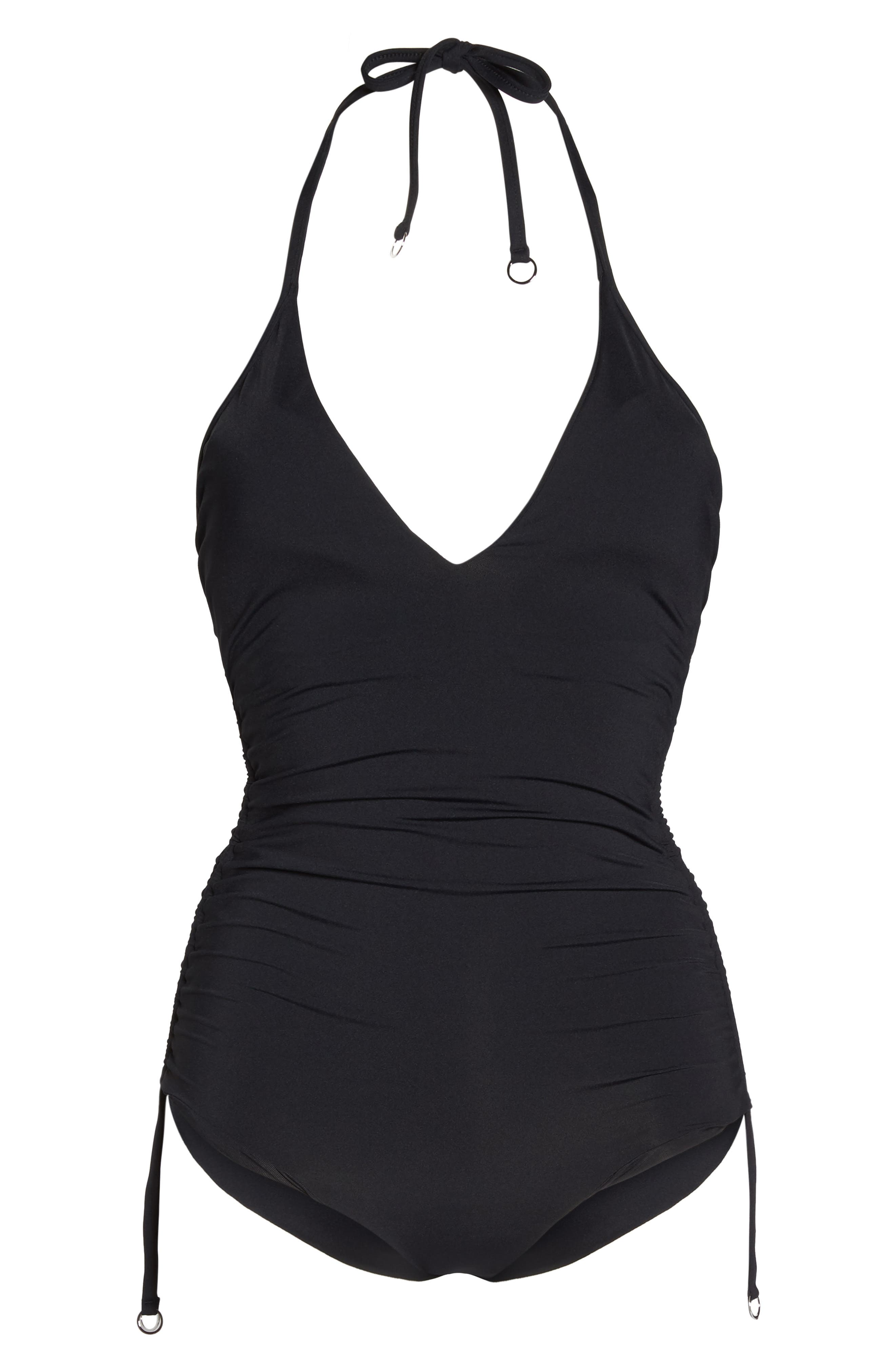 Ruched Side One-Piece Swimsuit,                             Alternate thumbnail 6, color,                             BLACK