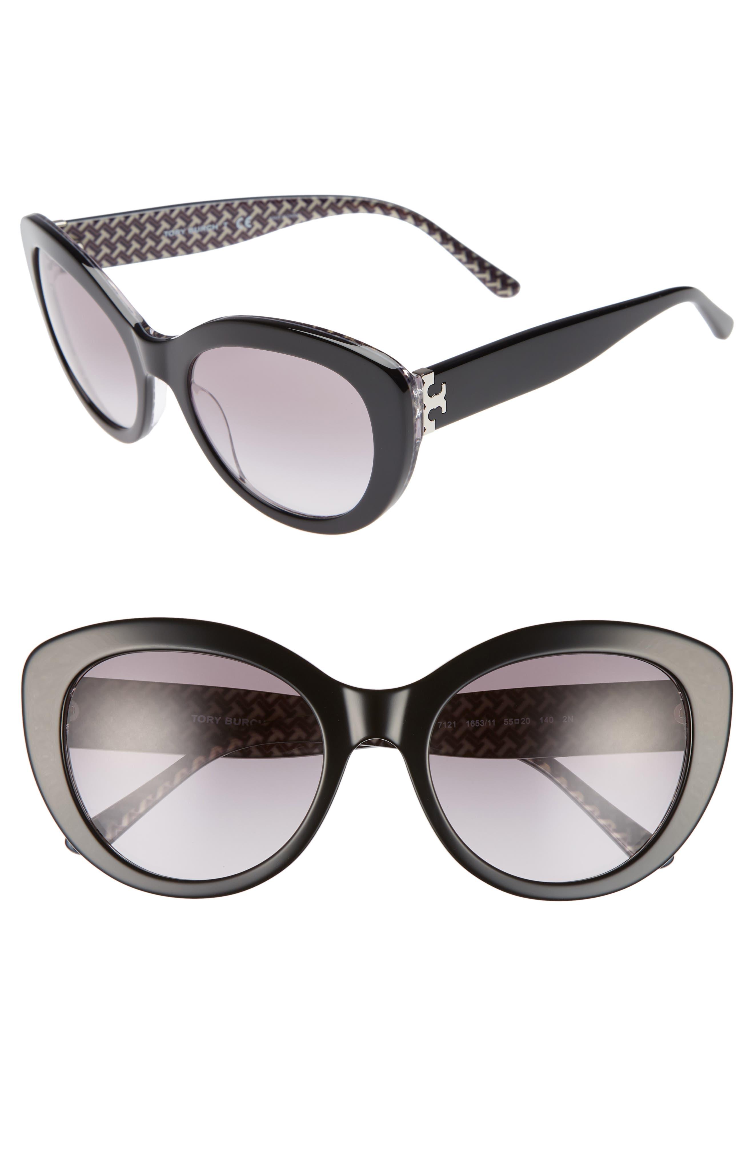 Serif T 55mm Cat Eye Sunglasses,                             Main thumbnail 1, color,                             BLACK