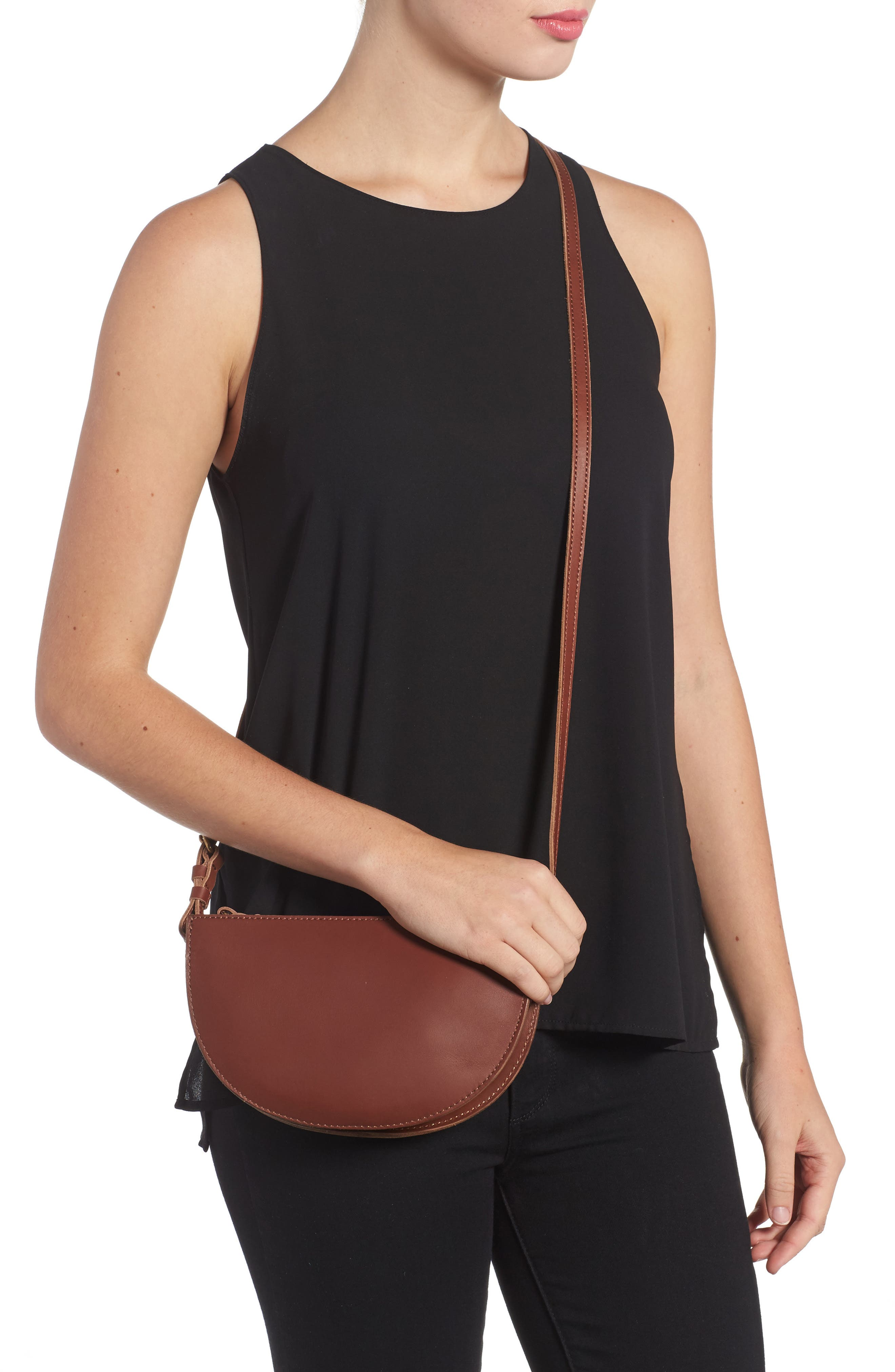 Juniper Vachetta Leather Half Moon Crossbody Bag,                             Alternate thumbnail 6, color,