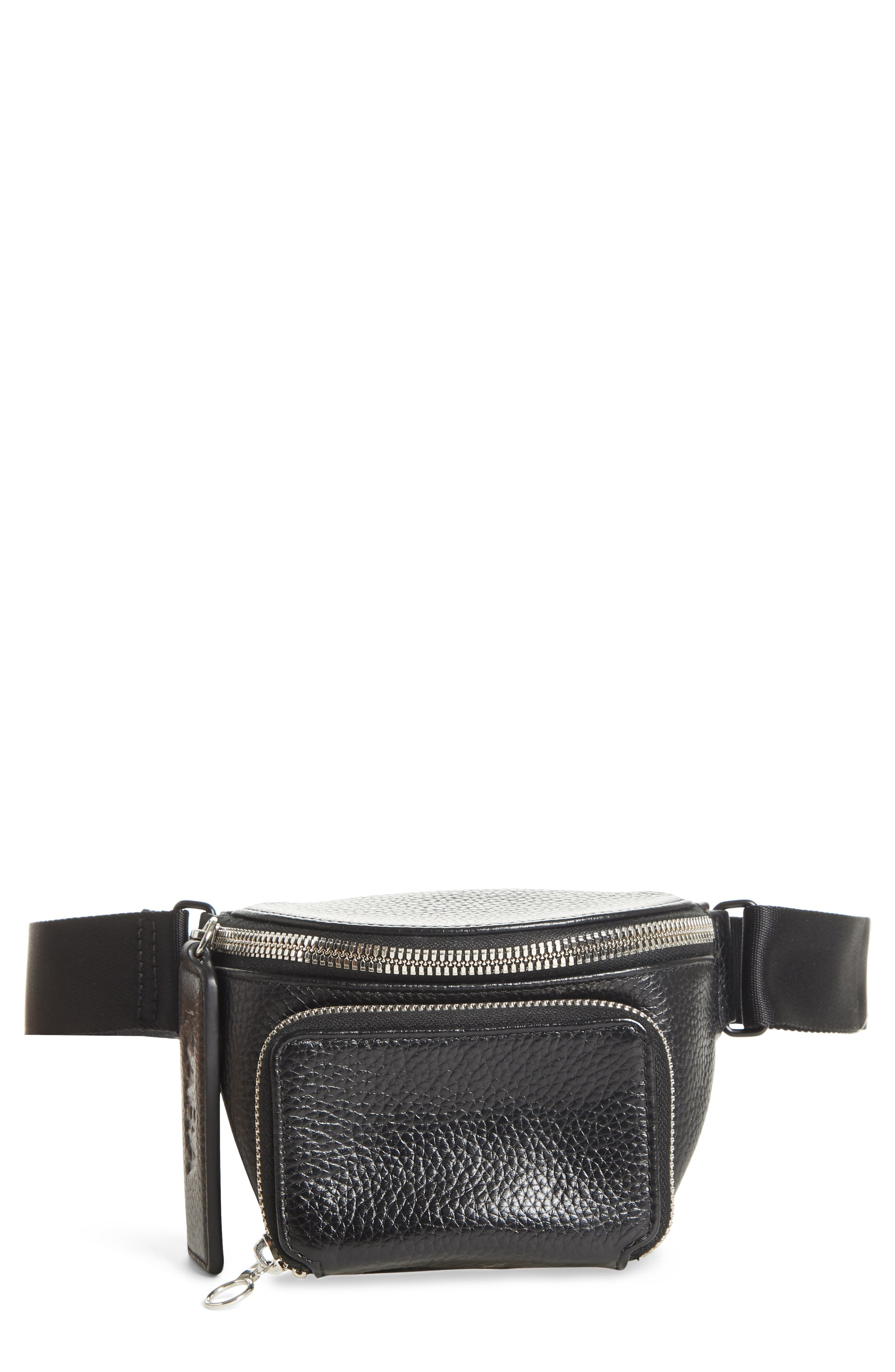 Leather Bum Bag,                         Main,                         color, BLACK