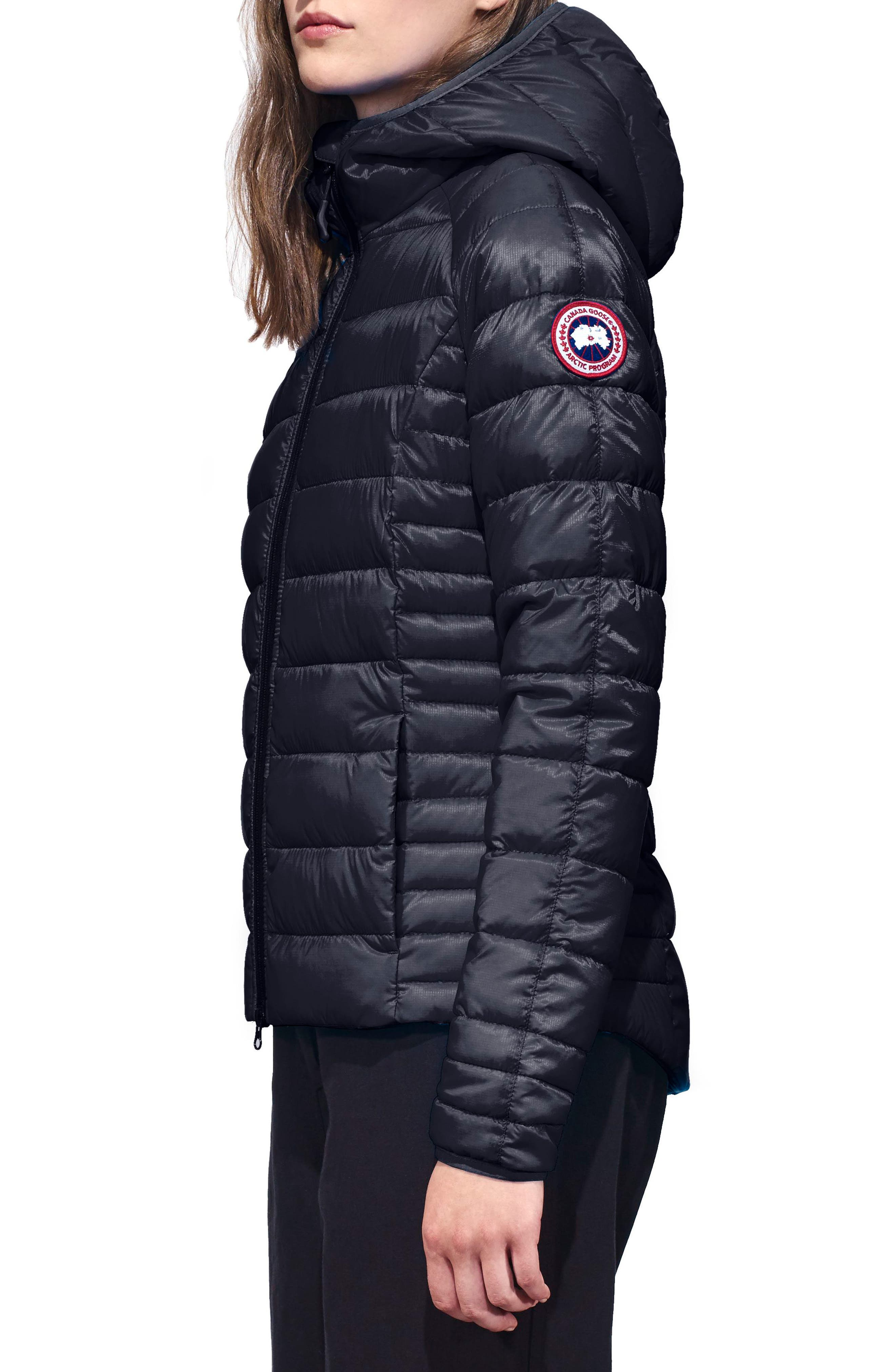 'Brookvale' Packable Hooded Quilted Down Jacket,                             Alternate thumbnail 3, color,                             ADMIRAL BLUE/ BLACK