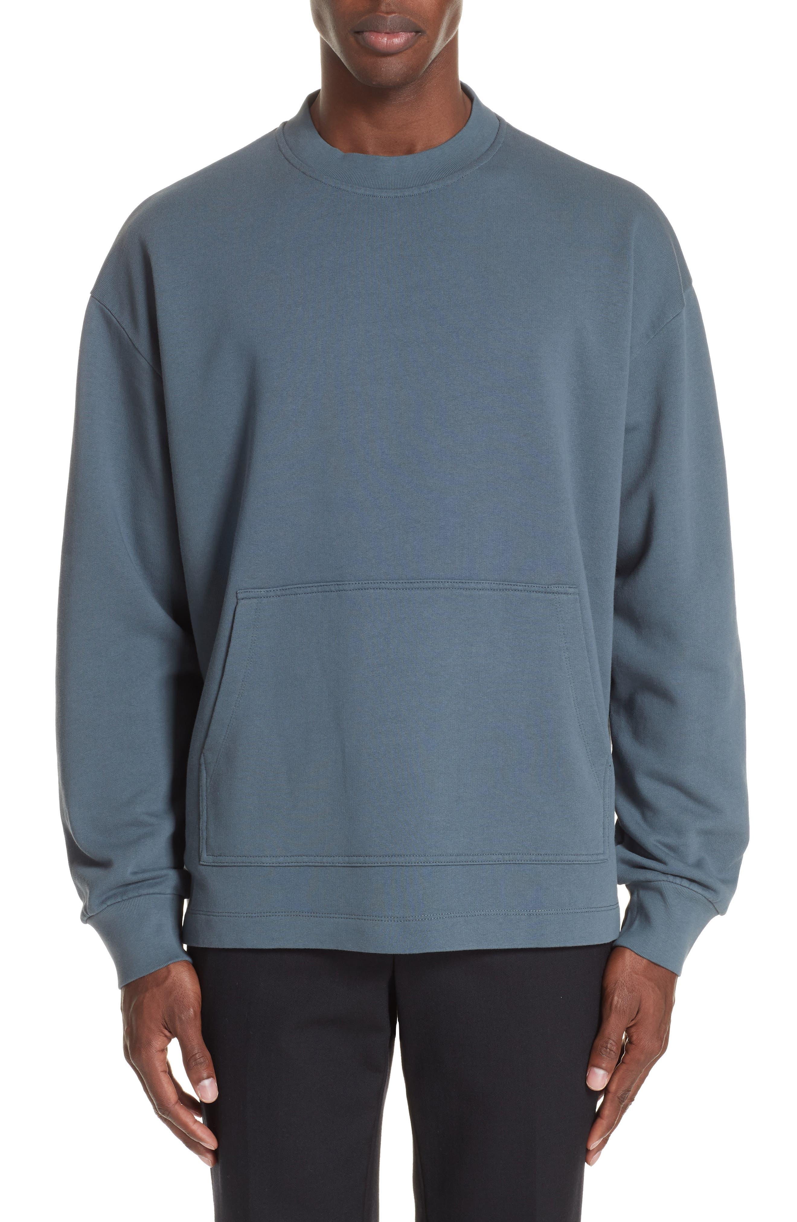 Fleece Knit Sweatshirt,                         Main,                         color, GREY