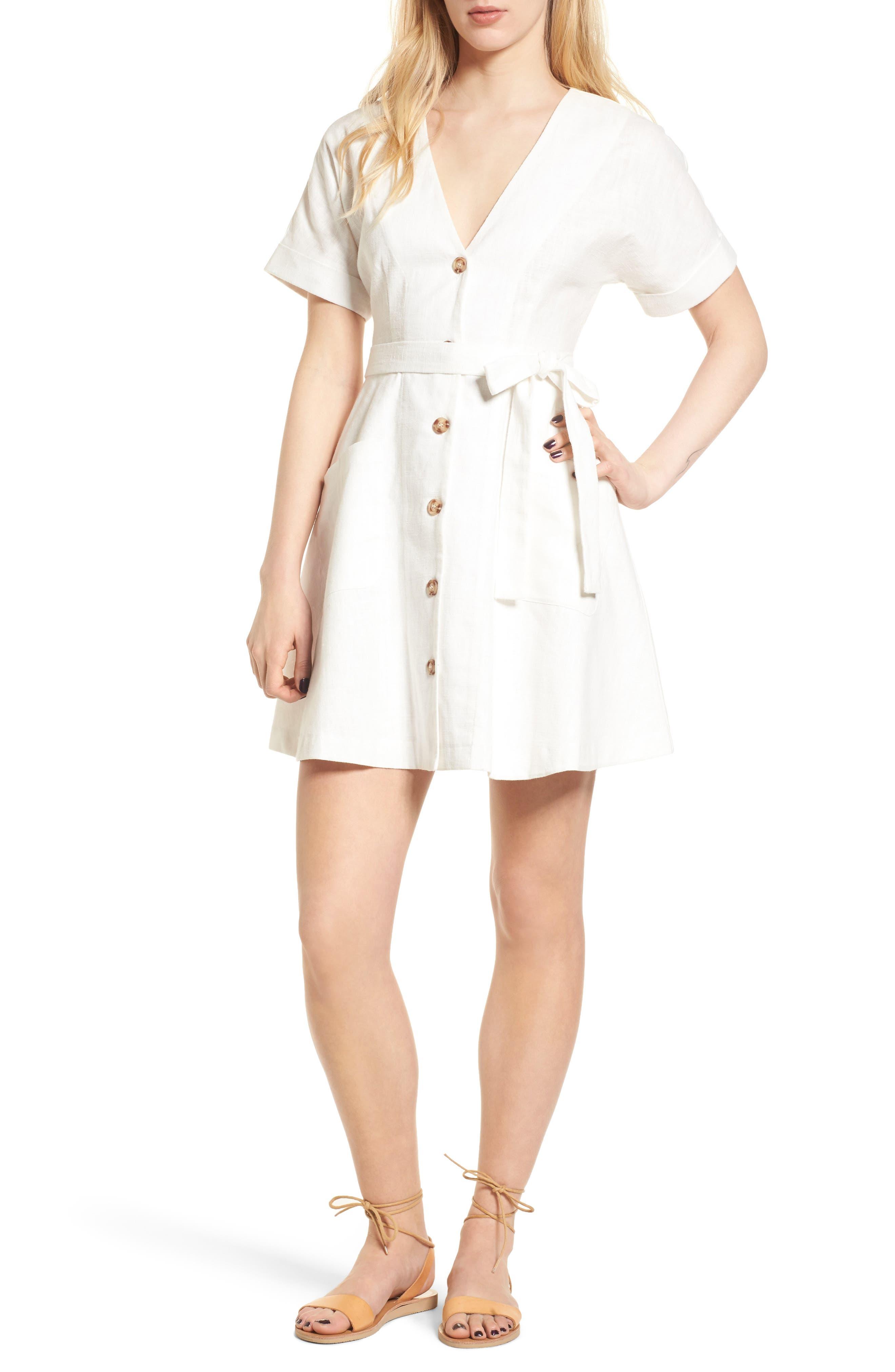 Linen & Cotton Button Front Dress,                             Main thumbnail 1, color,                             100