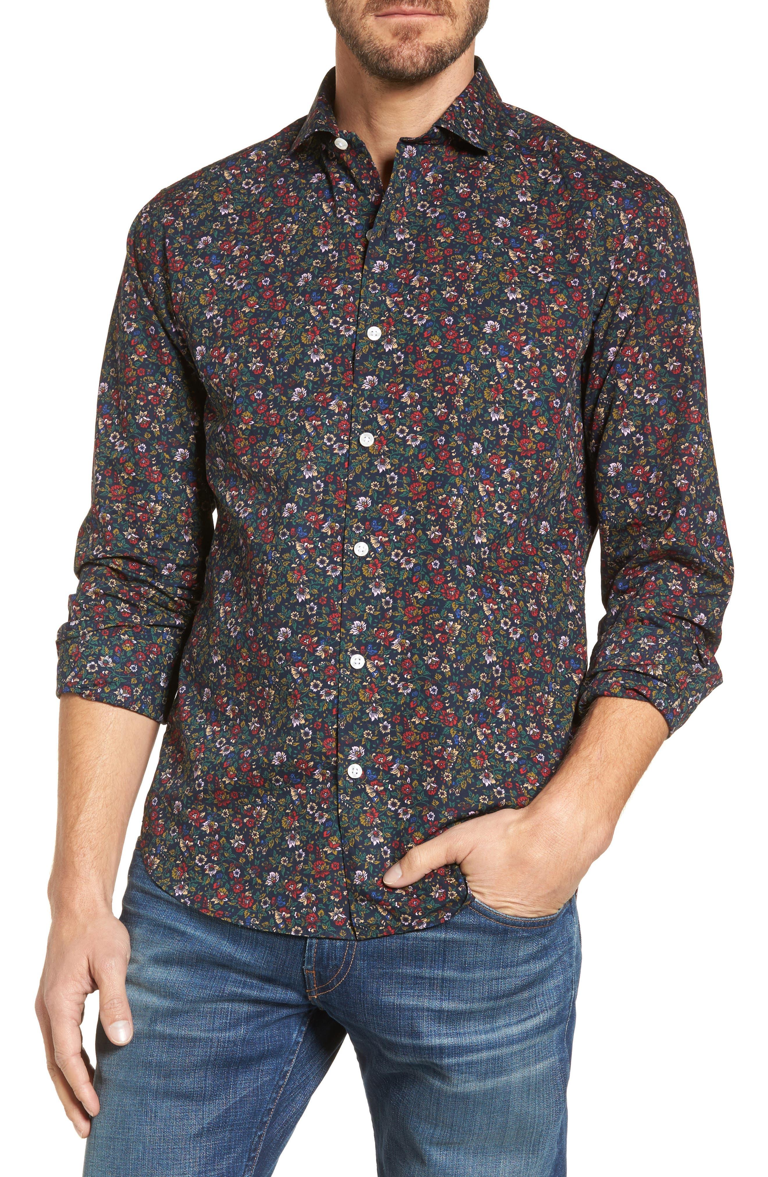 Unbutton Down Slim Fit Floral Sport Shirt,                         Main,                         color, 001