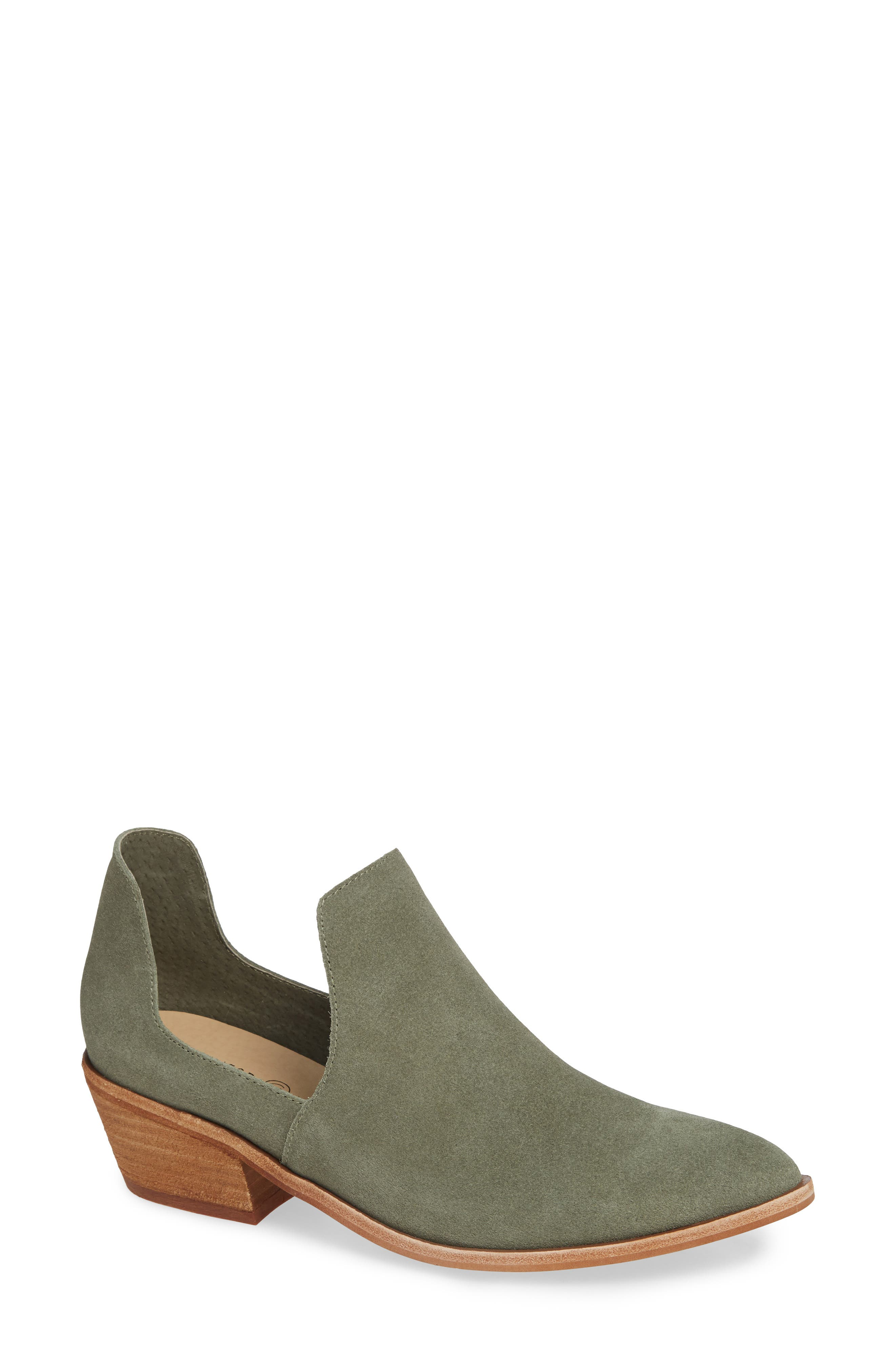 Focus Open Sided Bootie,                             Main thumbnail 1, color,                             OLIVE SUEDE