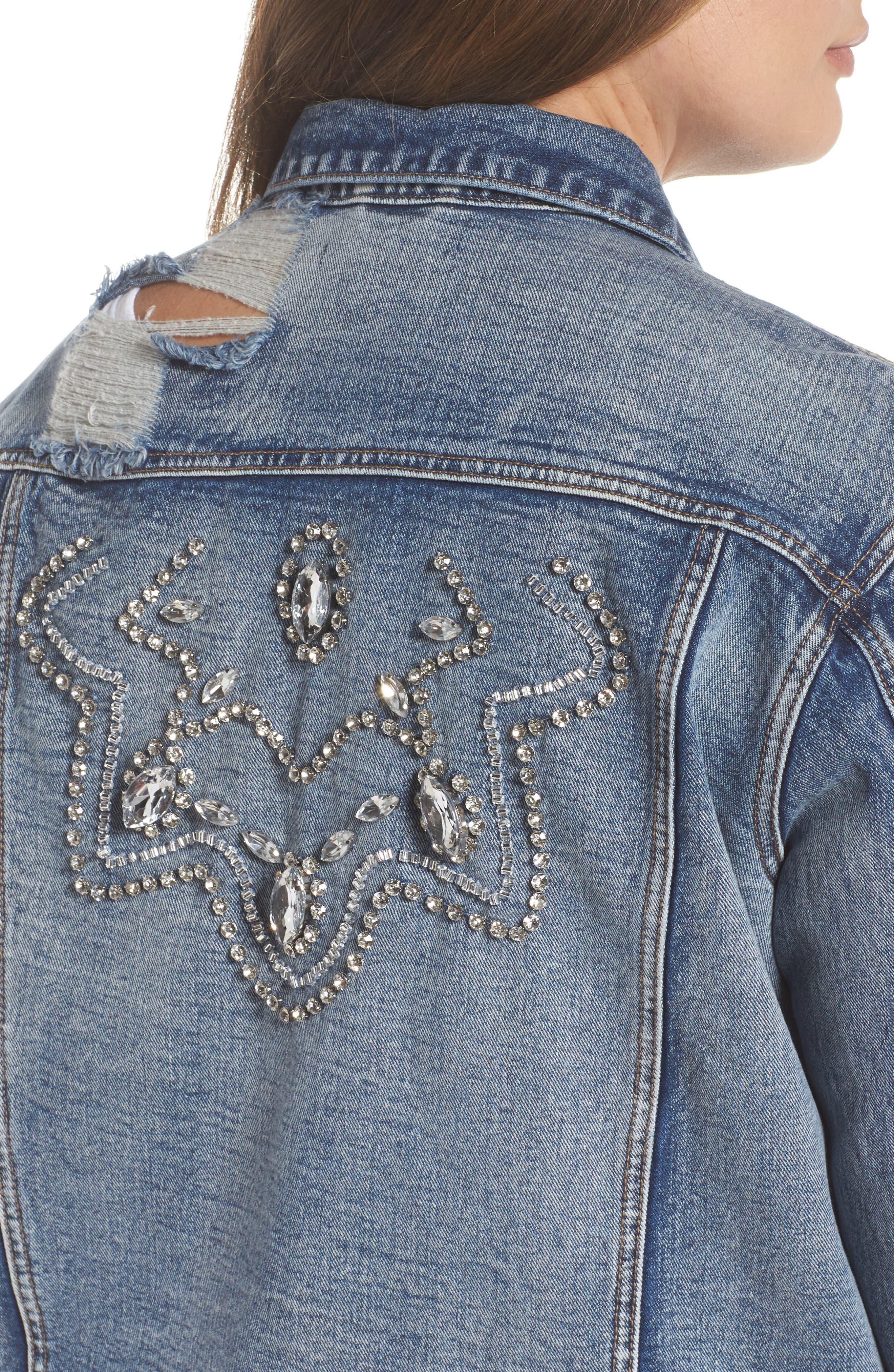 Embellished Distressed Denim Jacket,                             Alternate thumbnail 4, color,                             420