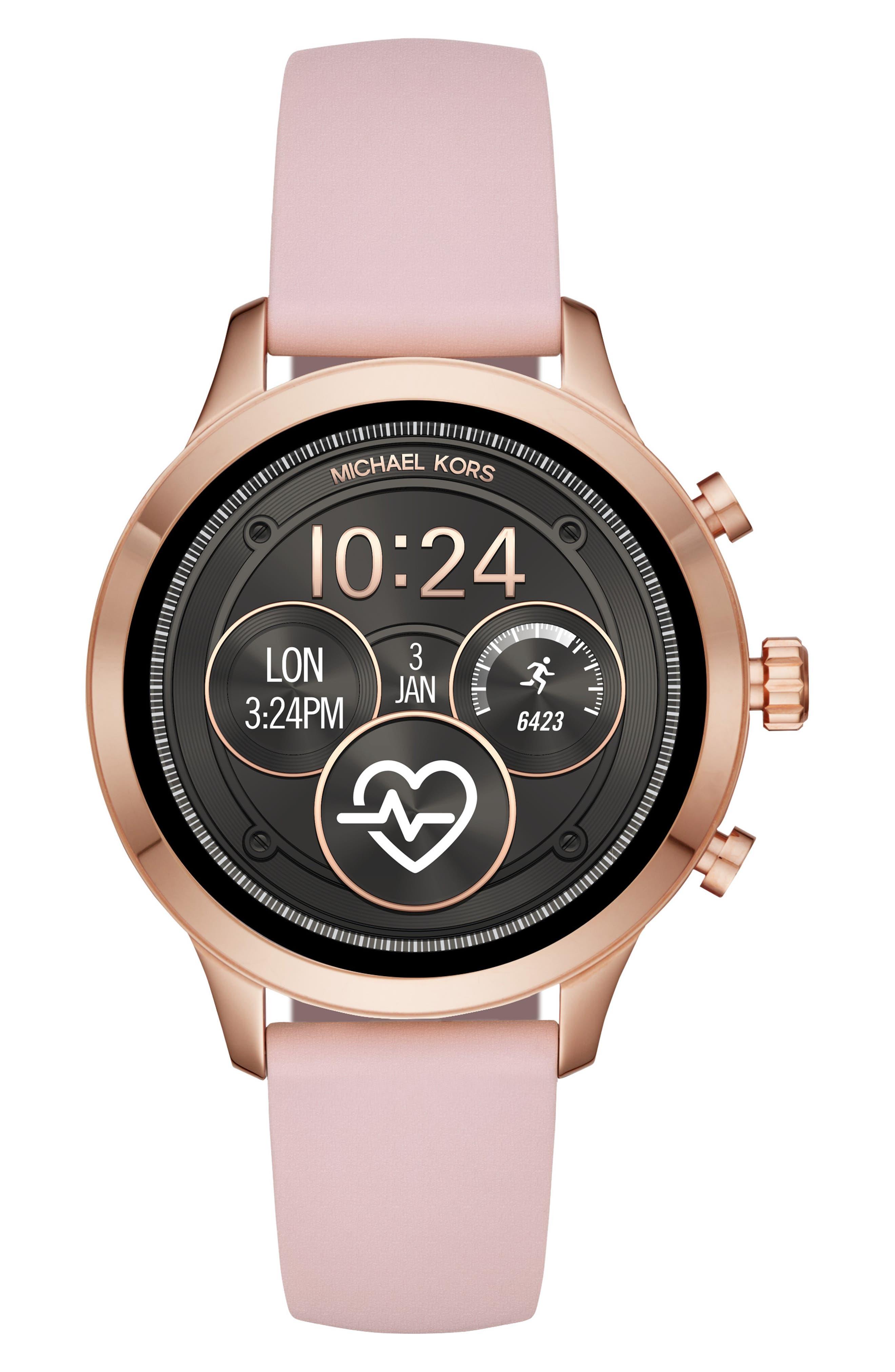 MICHAEL KORS,                             MICHAEL Michael Kors Access Runway Smart Watch, 41mm,                             Main thumbnail 1, color,                             PINK/ ROSE GOLD