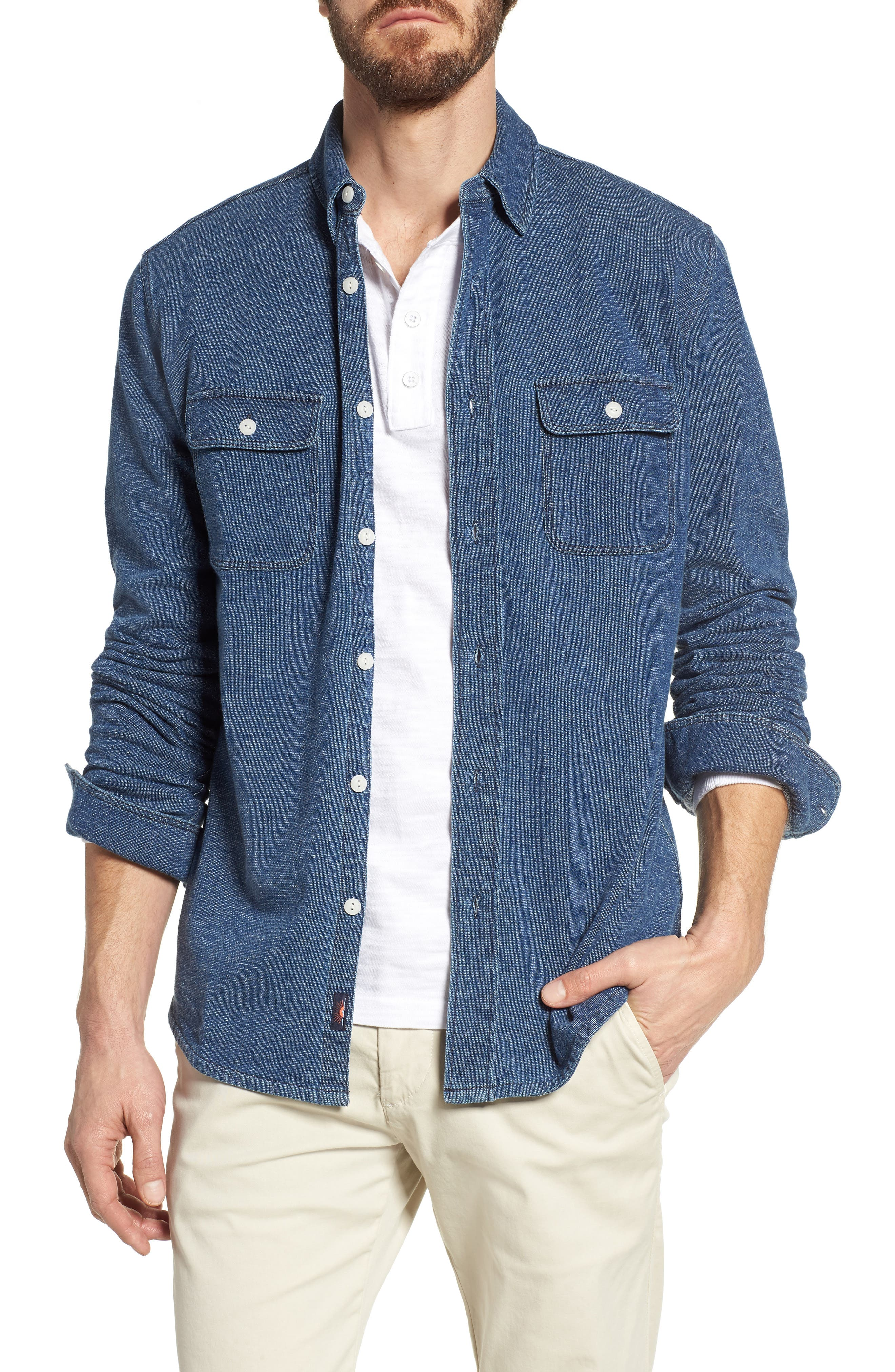 Belmar Chambray Knit Sport Shirt,                         Main,                         color, 420