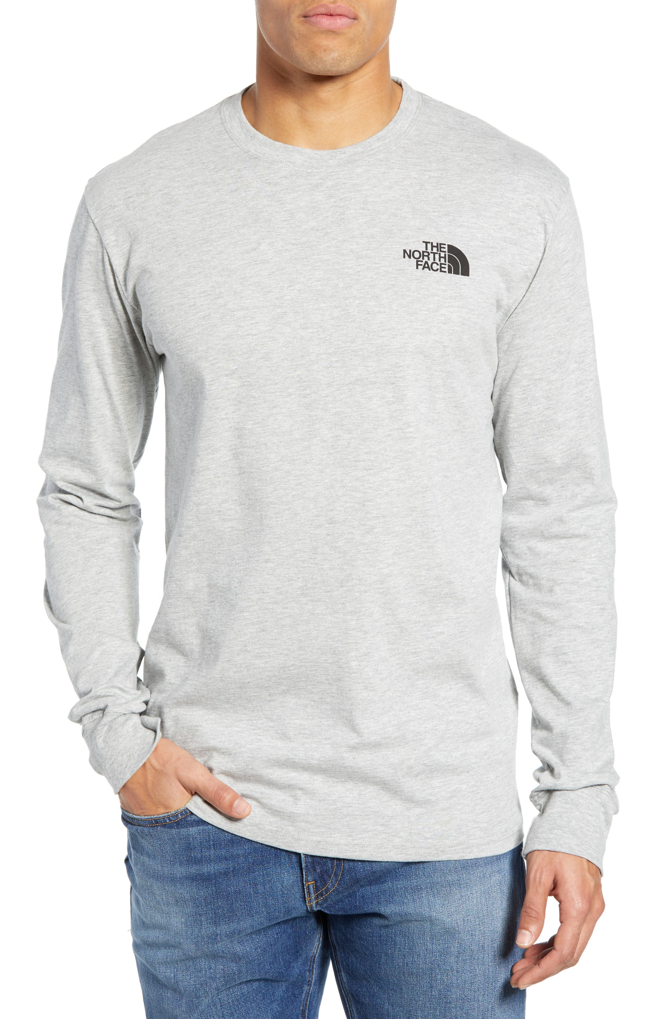 The North Face Red Box Long Sleeve T-Shirt, Grey