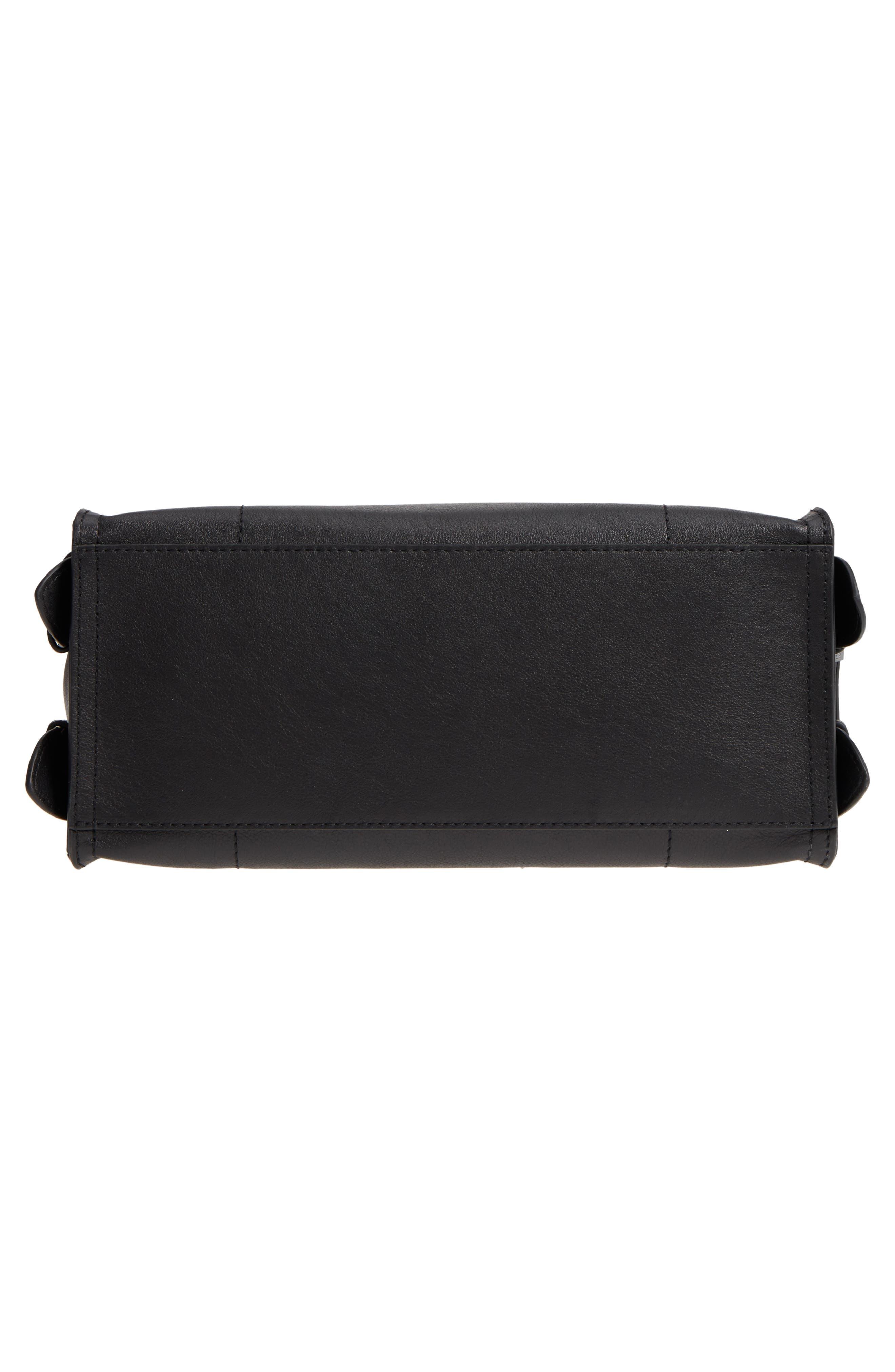 Moto Leather Top Handle Satchel,                             Alternate thumbnail 6, color,                             BLACK