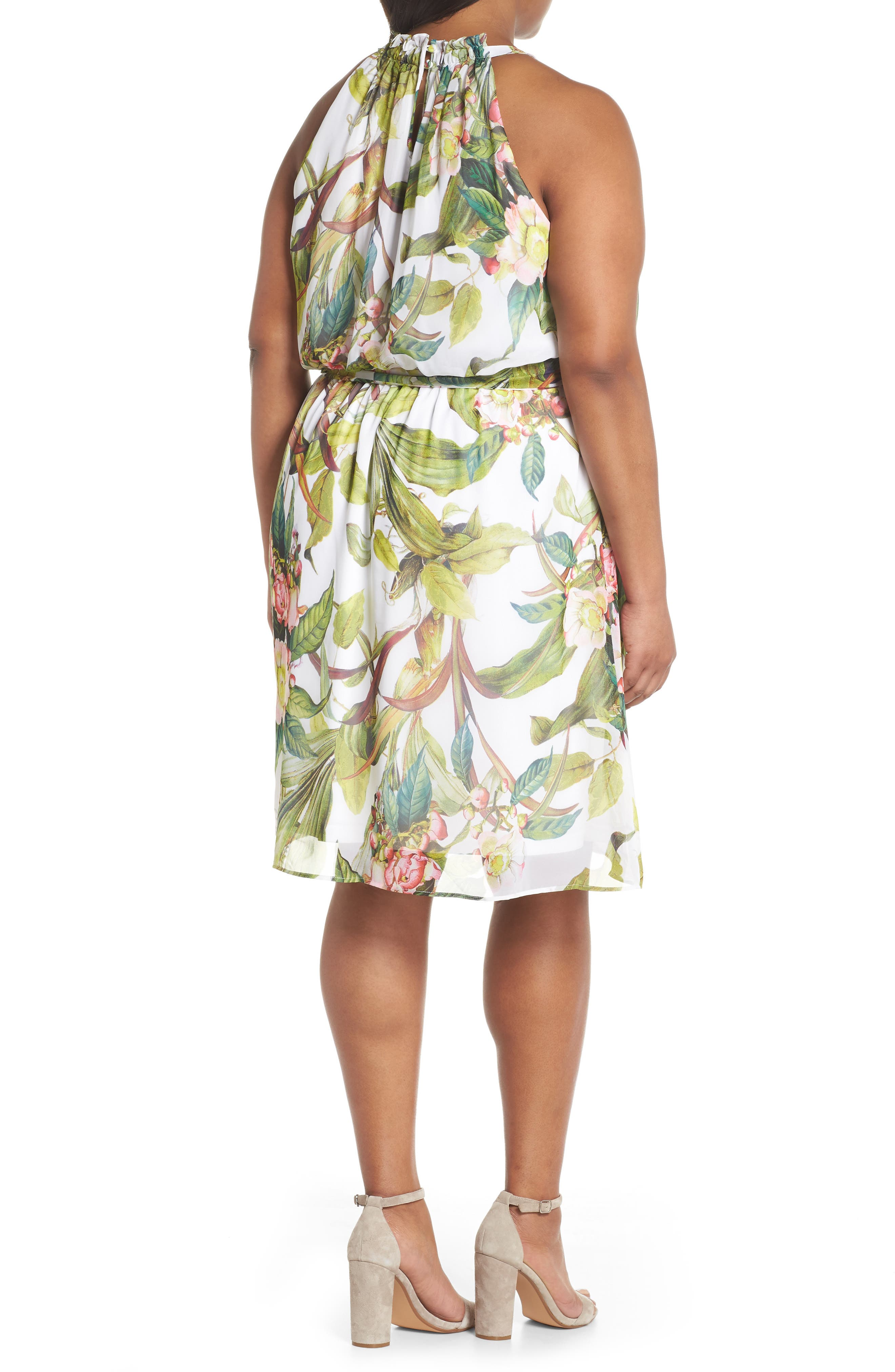 Adrianne Papell Tahitian Tropics Blouson Halter Dress,                             Alternate thumbnail 2, color,                             900