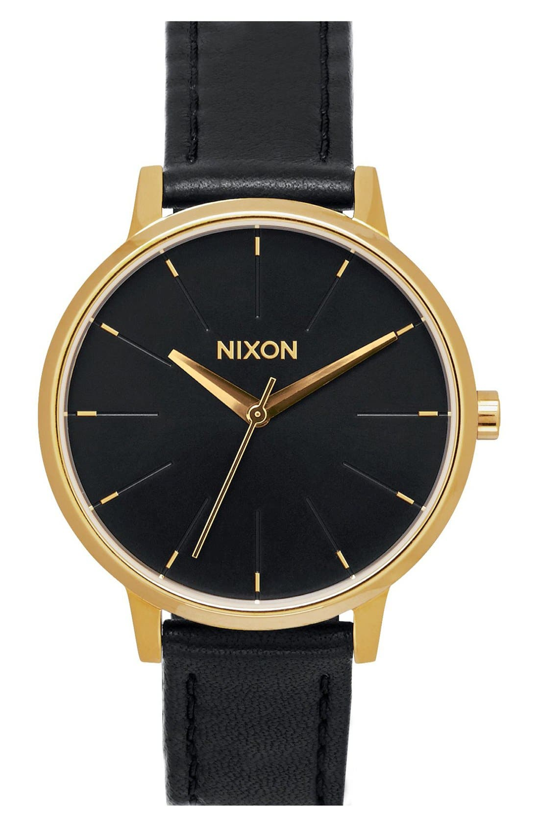 'The Kensington' Leather Strap Watch, 37mm,                         Main,                         color, BLACK/ GOLD