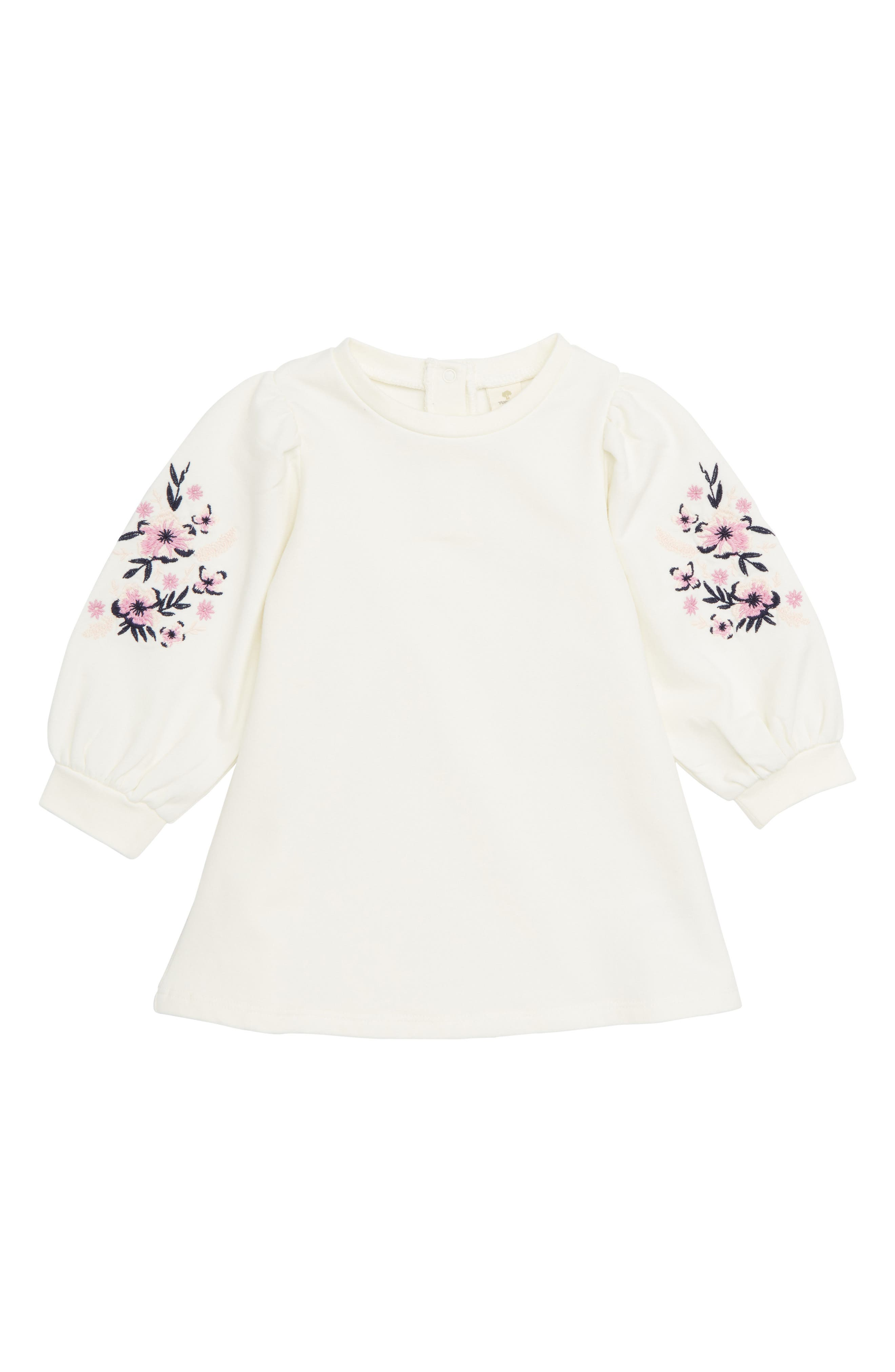 Embroidered Dress,                         Main,                         color, IVORY EGRET