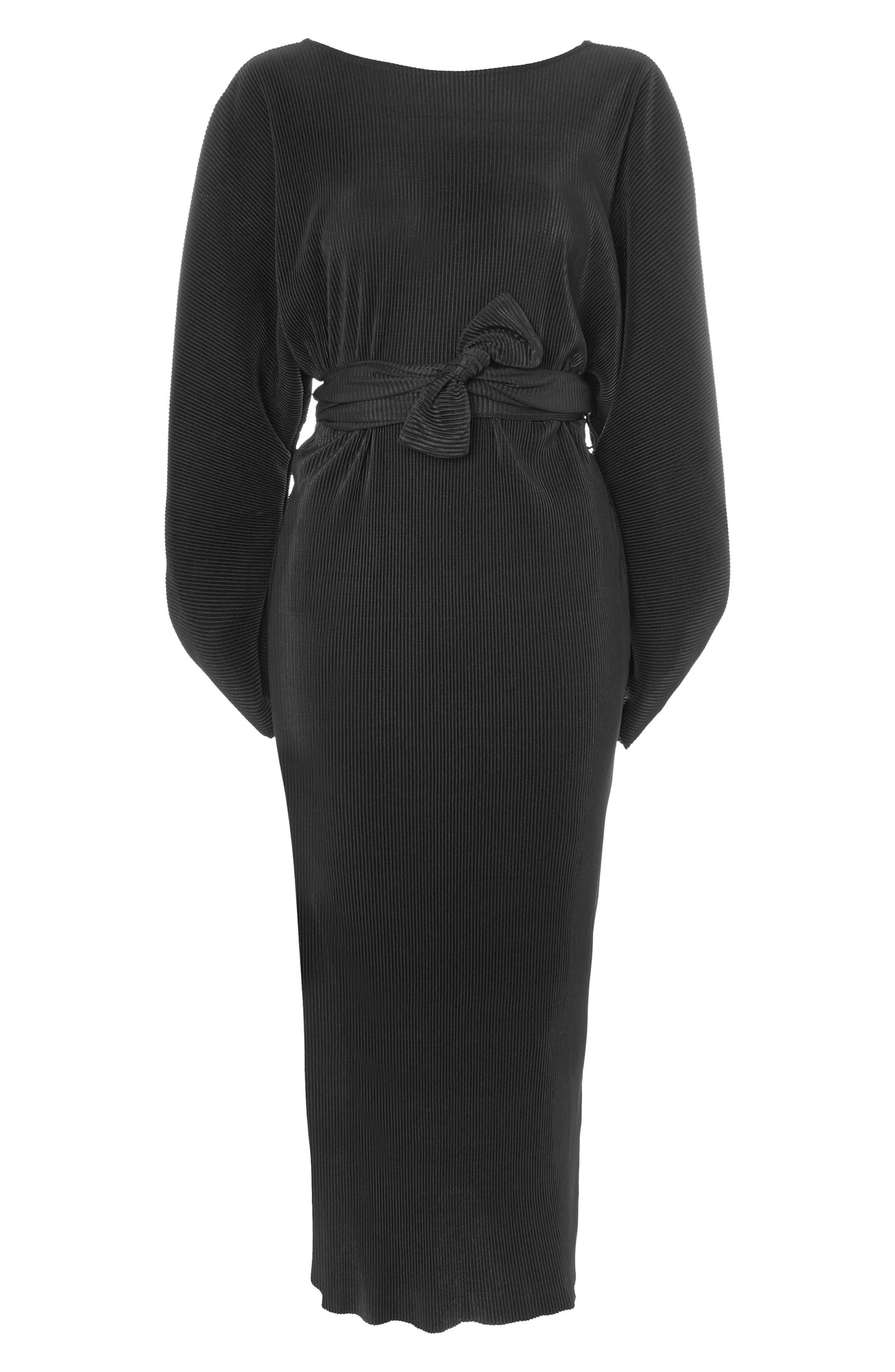 Ovoid Plissé Midi Dress,                             Alternate thumbnail 4, color,                             001