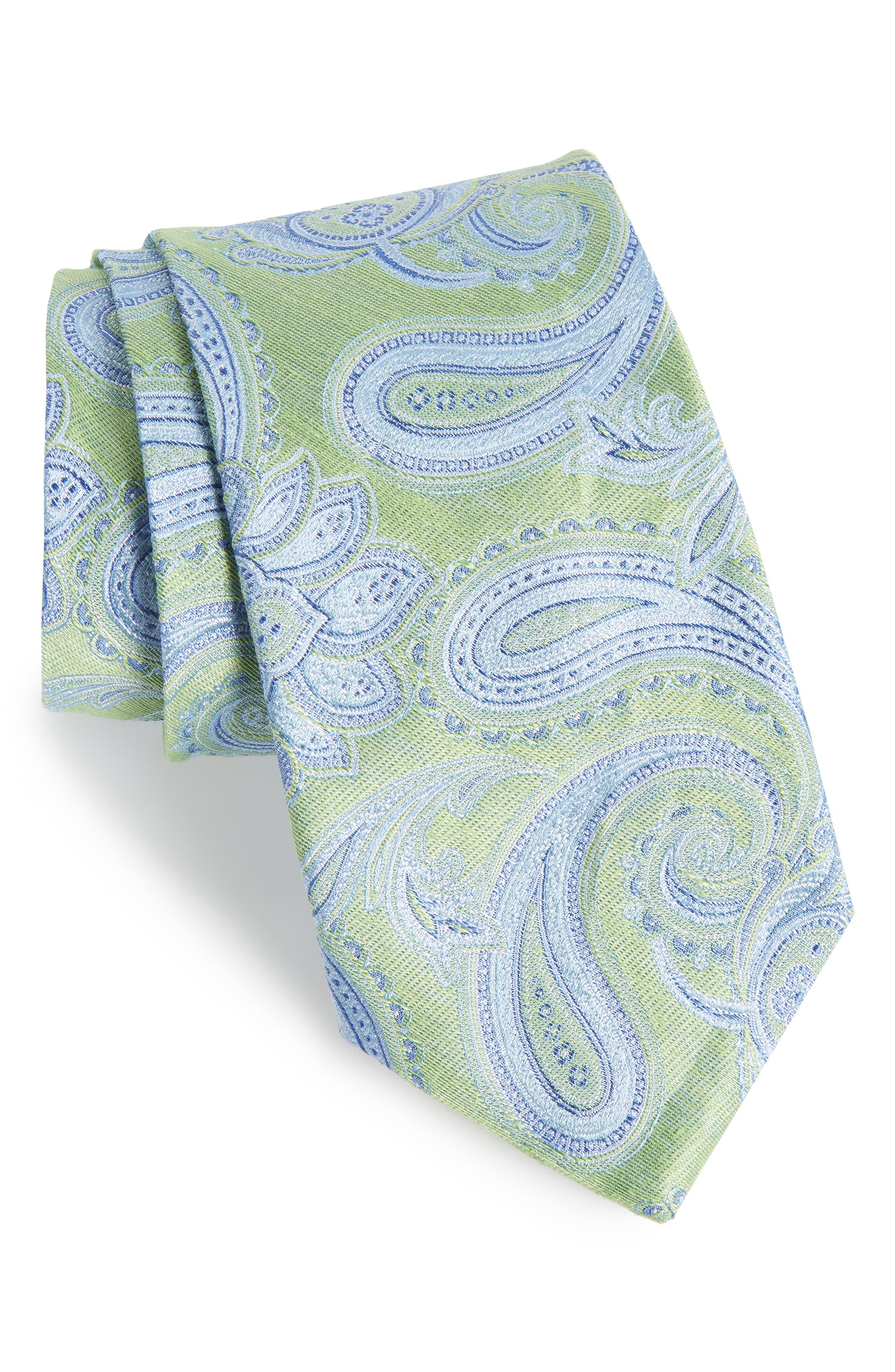 Anrigo Pailsey Silk & Linen Tie,                             Main thumbnail 1, color,                             GREEN