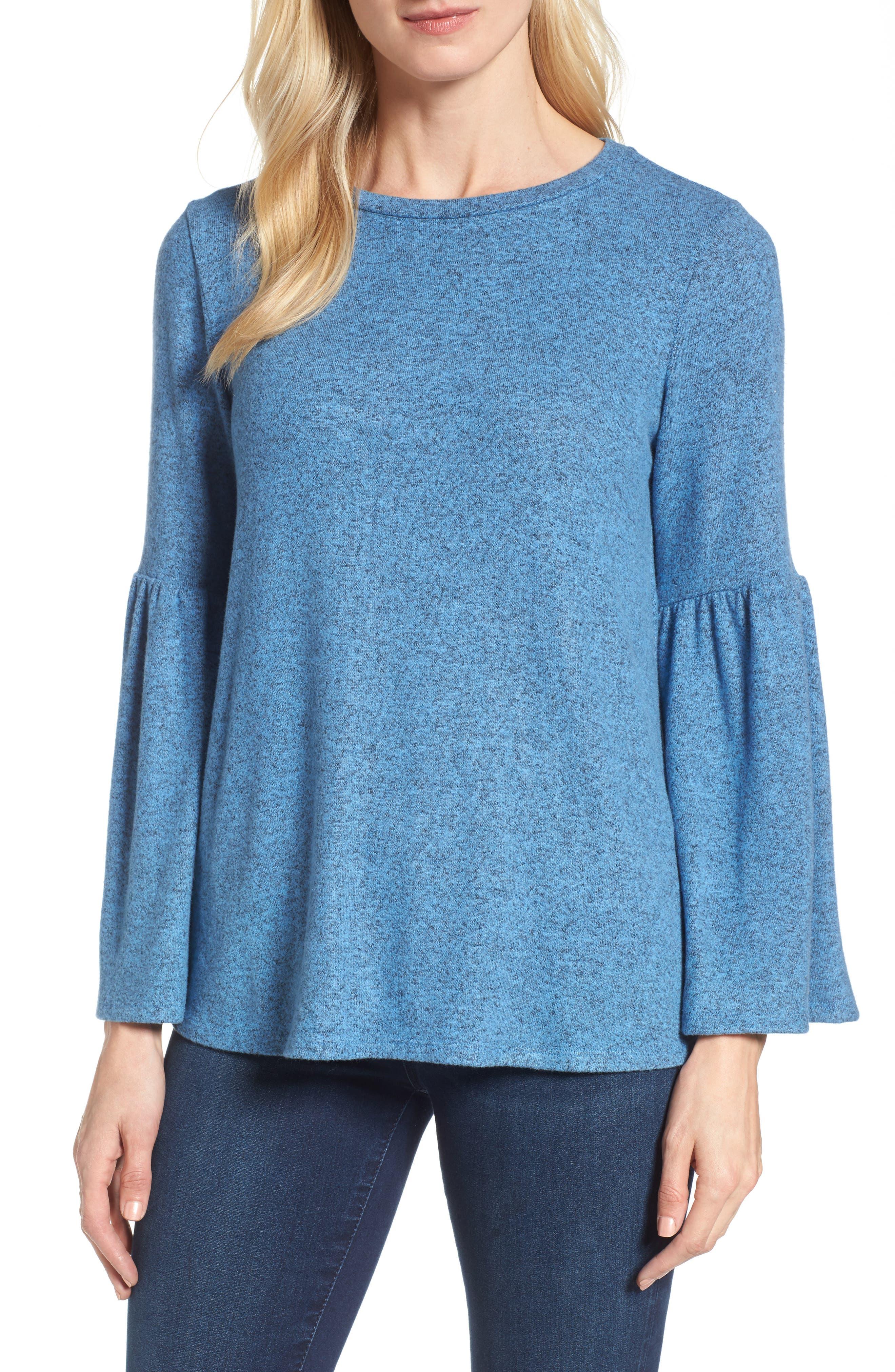Bell Sleeve Cozy Fleece Pullover,                             Main thumbnail 3, color,