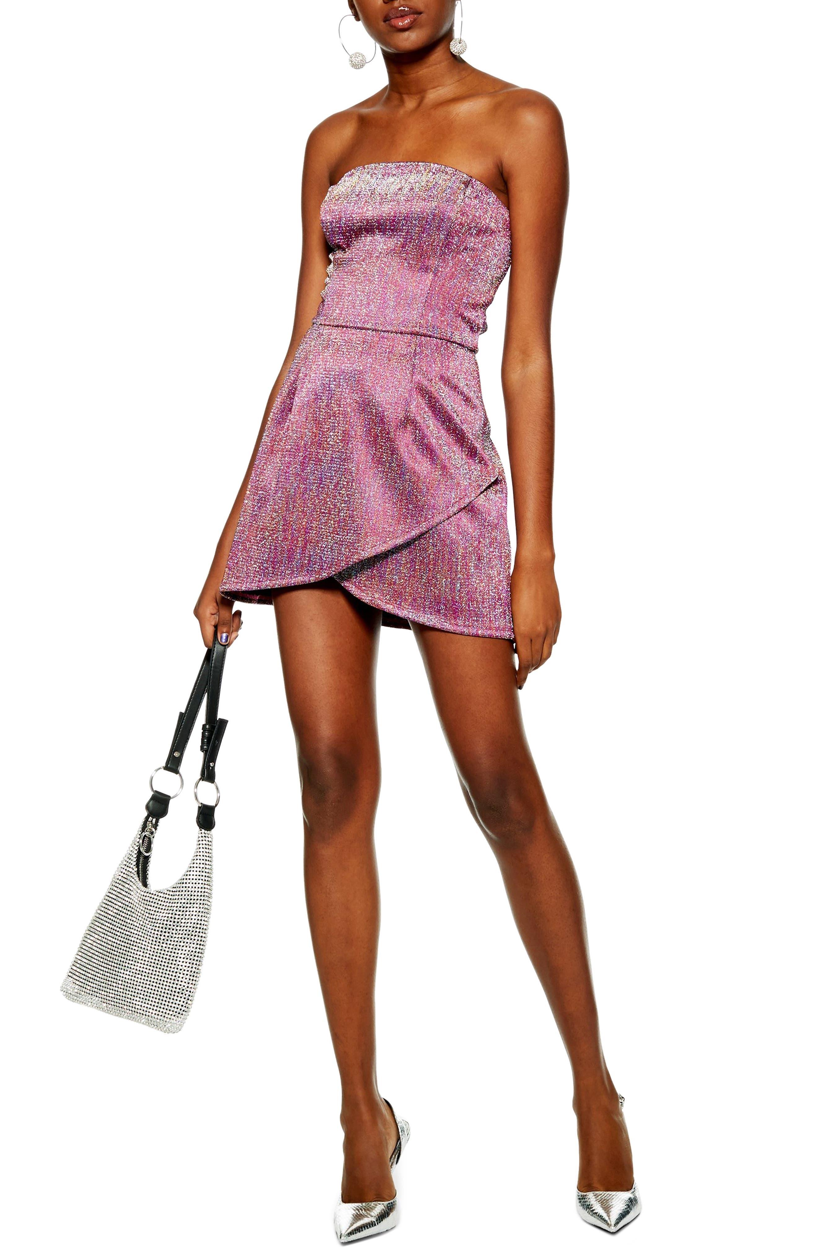 Topshop Glitter Bandeau Minidress, US (fits like 10-12) - Purple