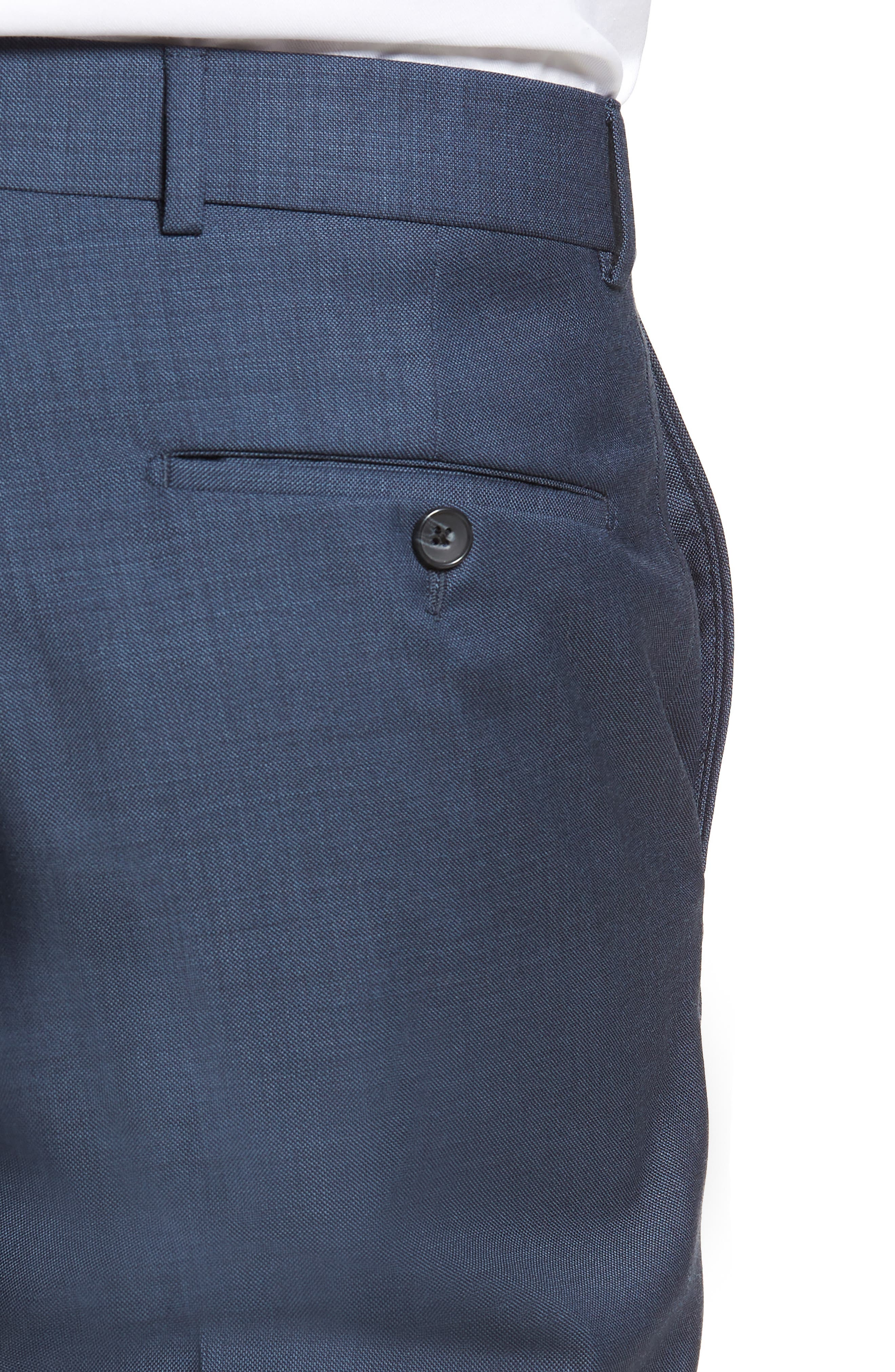 Flat Front Sharkskin Wool Trousers,                             Alternate thumbnail 4, color,                             NEW NAVY