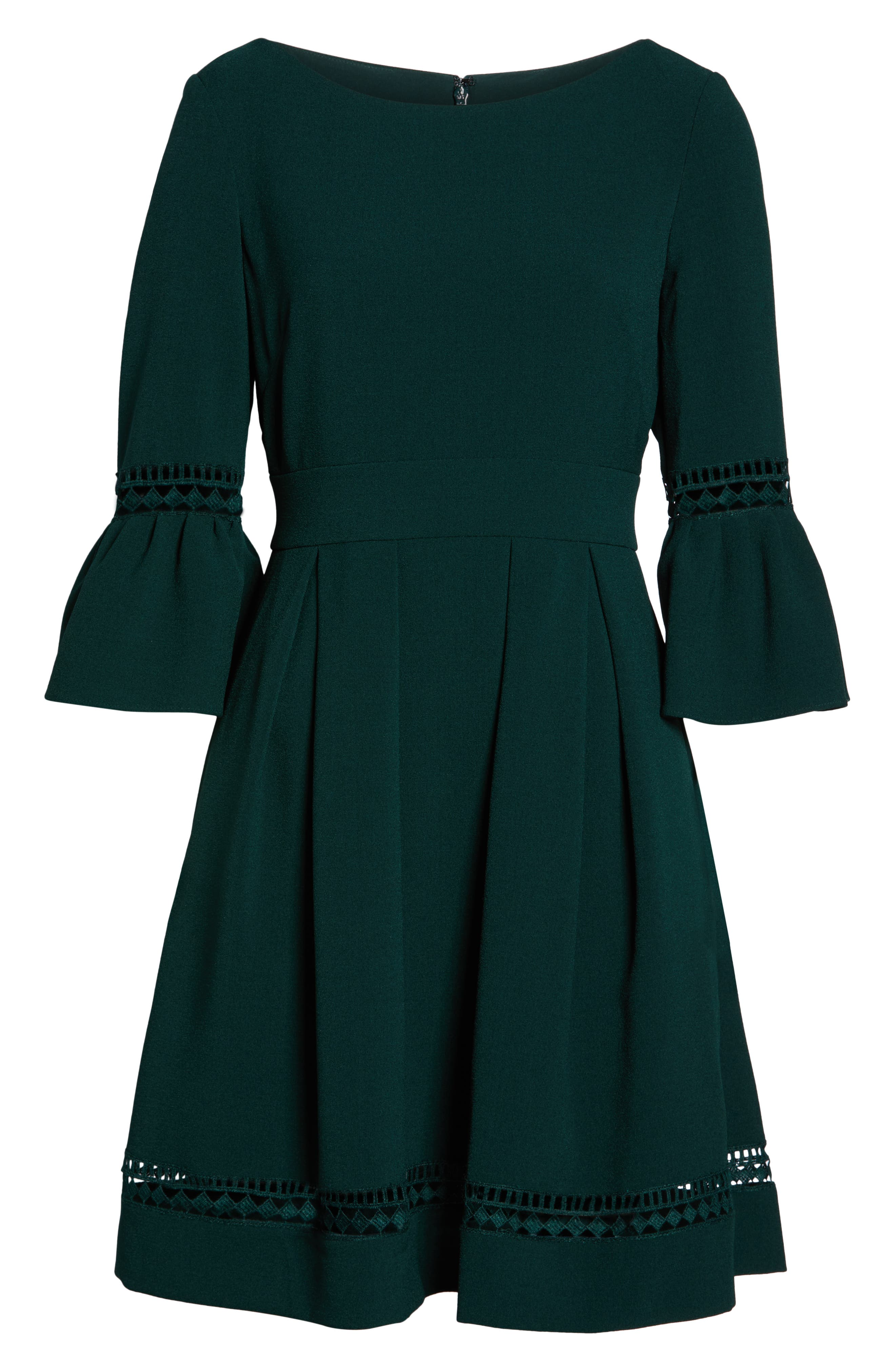 ELIZA J, Bell Sleeve Fit & Flare Dress, Alternate thumbnail 7, color, PINE