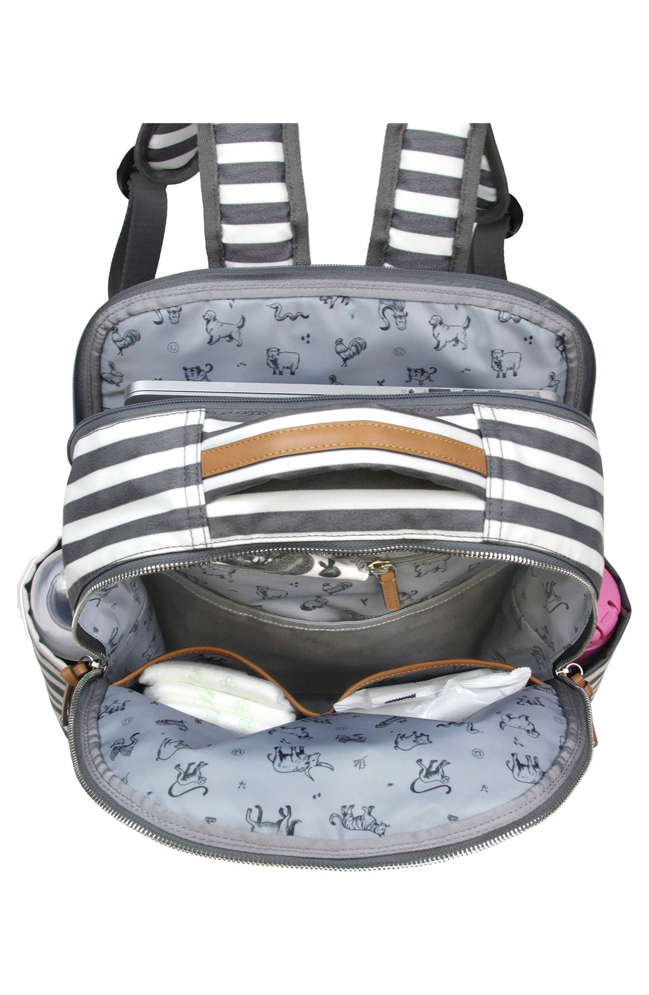 On-the-Go Water Resistant Diaper Backpack,                             Alternate thumbnail 3, color,                             STRIPE