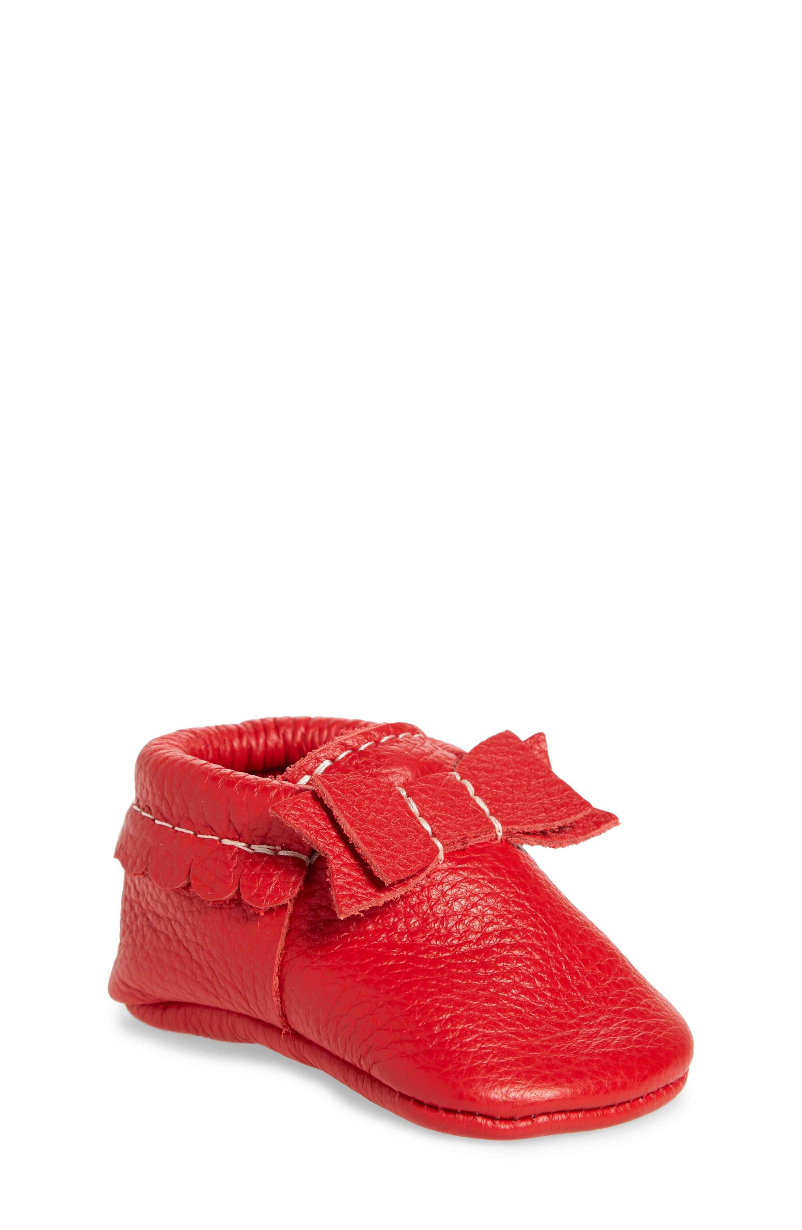 Santa Baby Moccasin, Main, color, RED